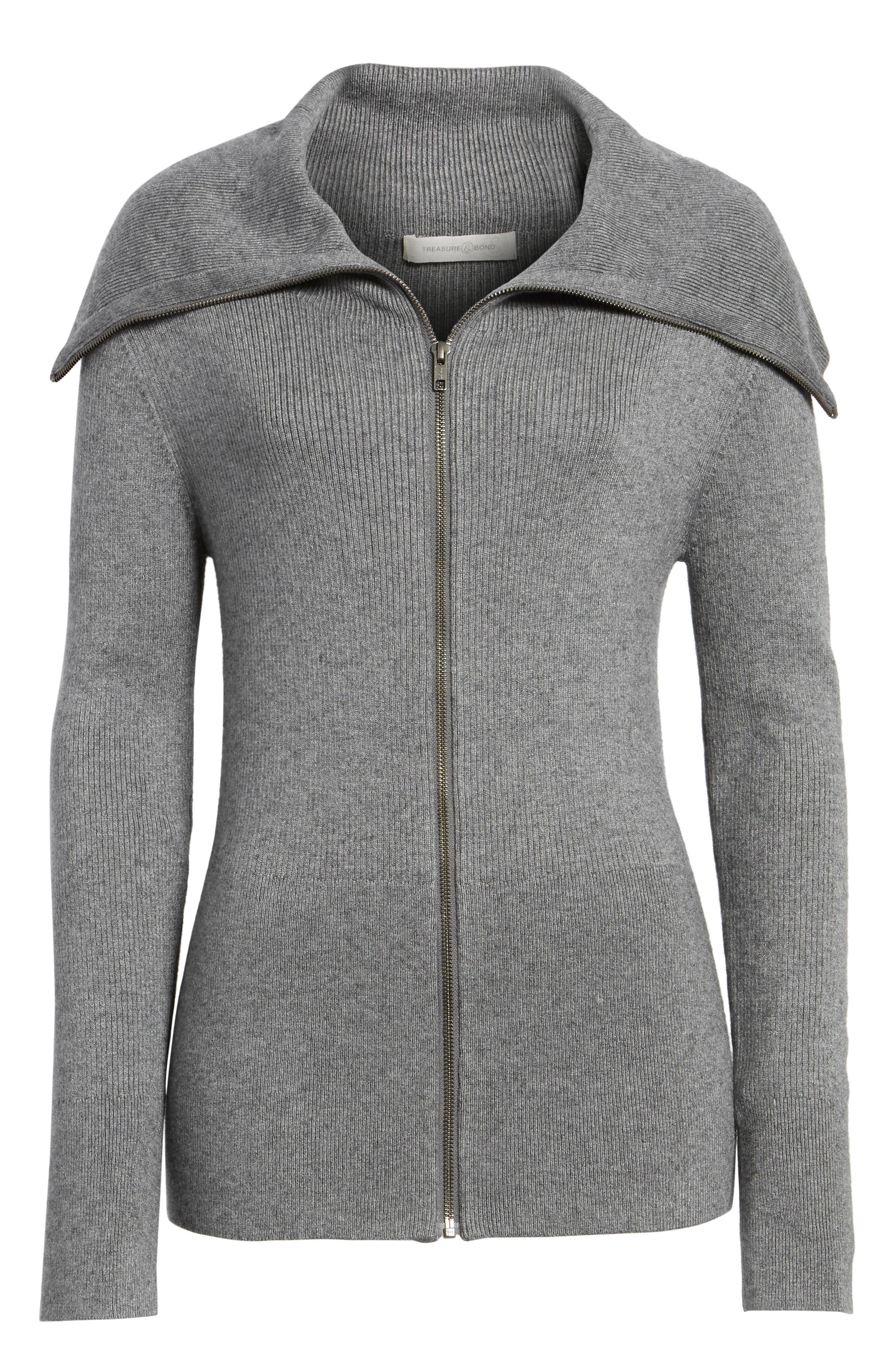 Wide Collar Zip Sweater,                             Alternate thumbnail 6, color,