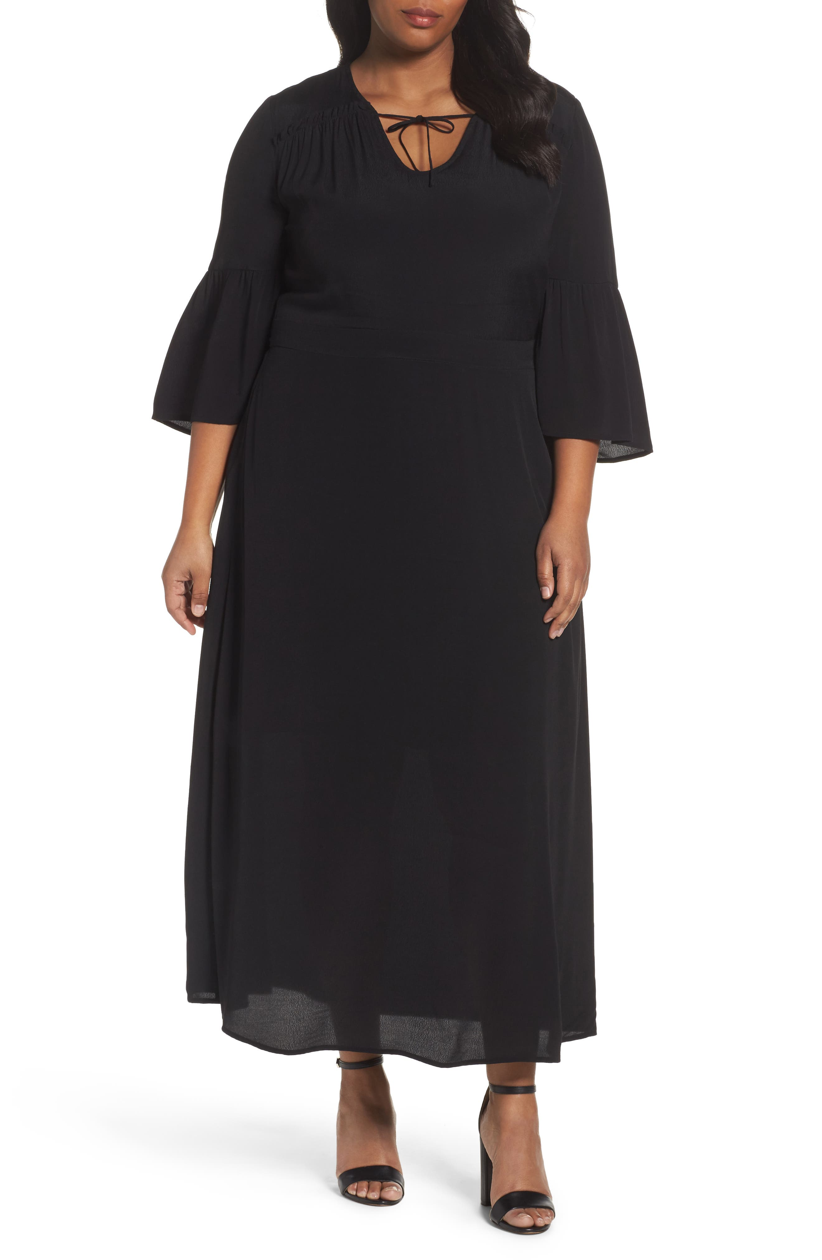 Bell Sleeve A-Line Maxi Dress,                             Main thumbnail 1, color,                             001