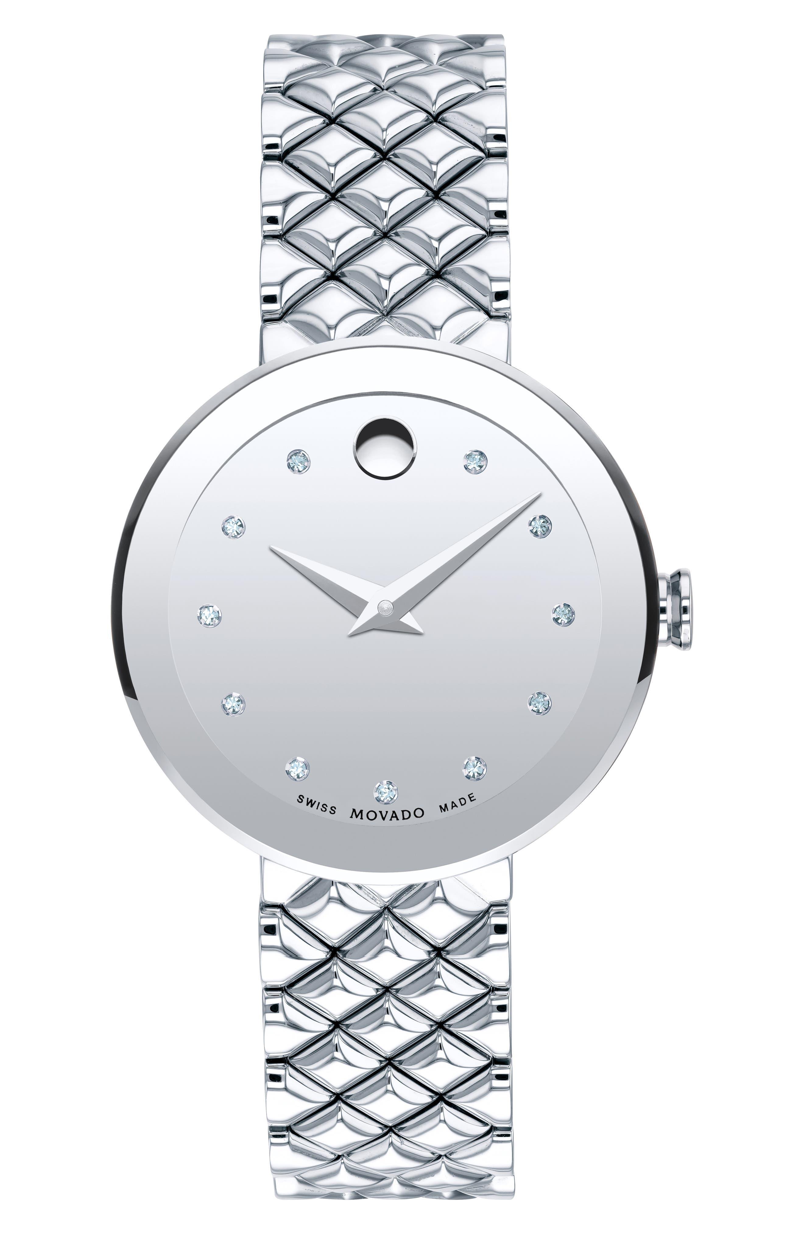 MOVADO Sapphire Diamond Silver-Tone Watch, 30Mm in Silver/ Gold Mirror/ Silver