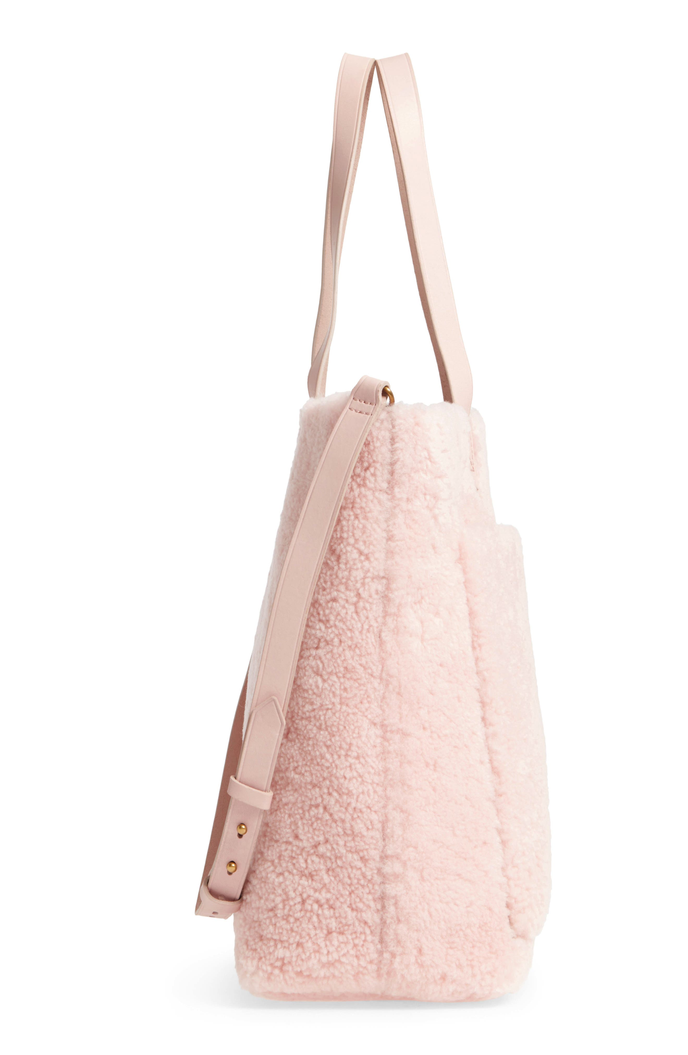 Medium Transport Genuine Shearling Tote,                             Alternate thumbnail 5, color,