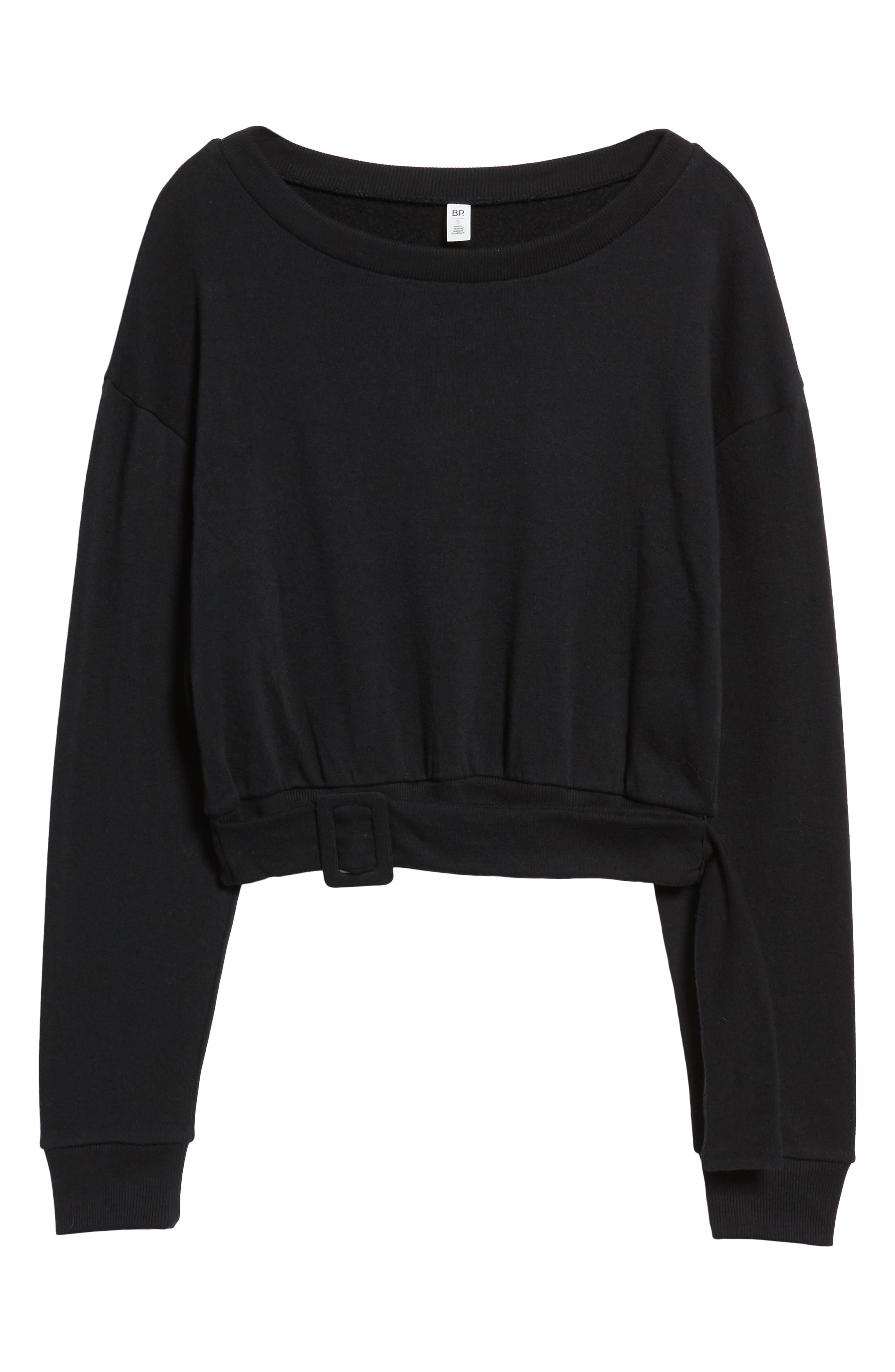 Belted Fleece Sweatshirt,                             Alternate thumbnail 6, color,                             BLACK