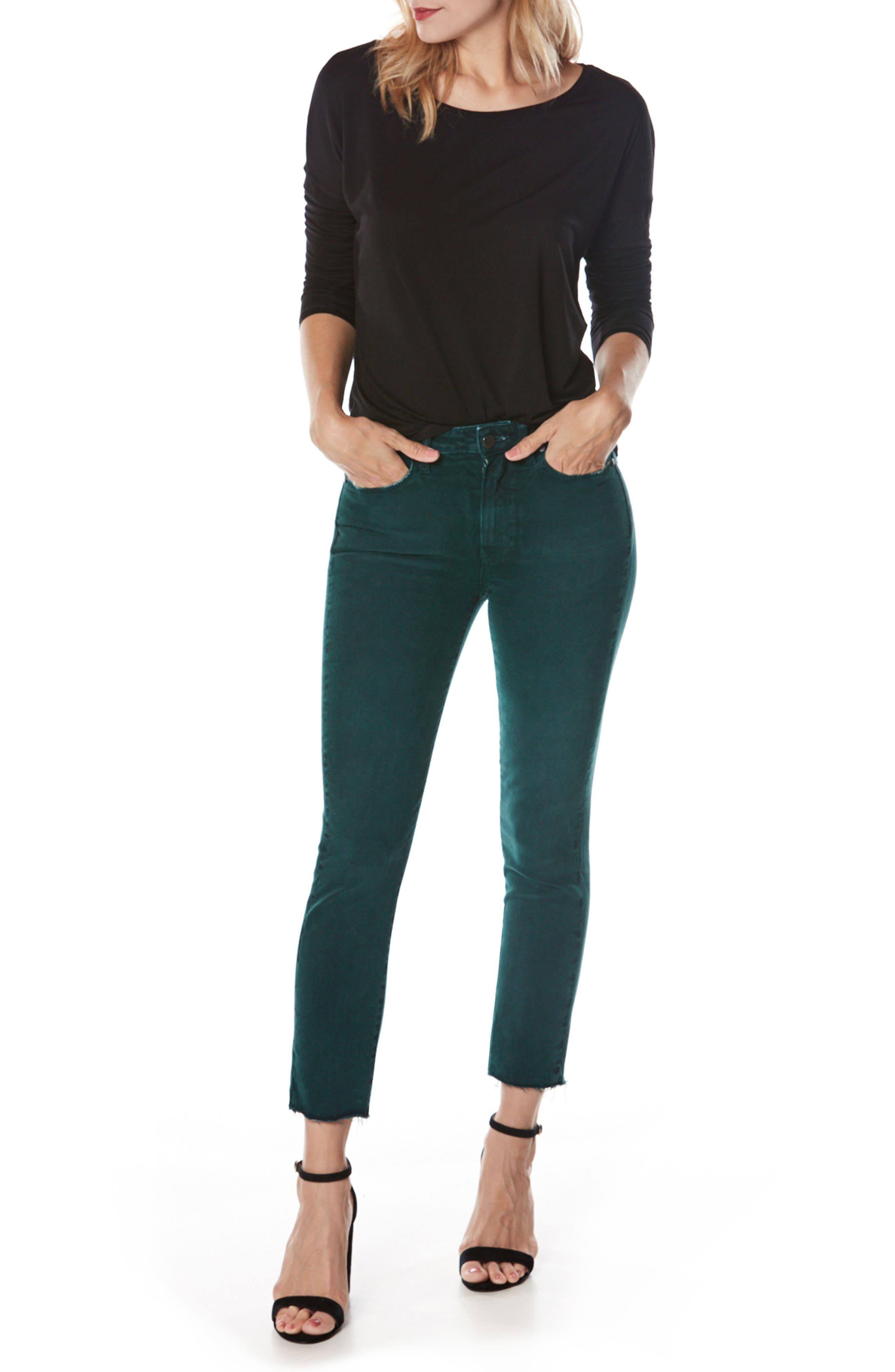 Jacqueline High Waist Crop Straight Leg Jeans,                             Alternate thumbnail 3, color,                             499