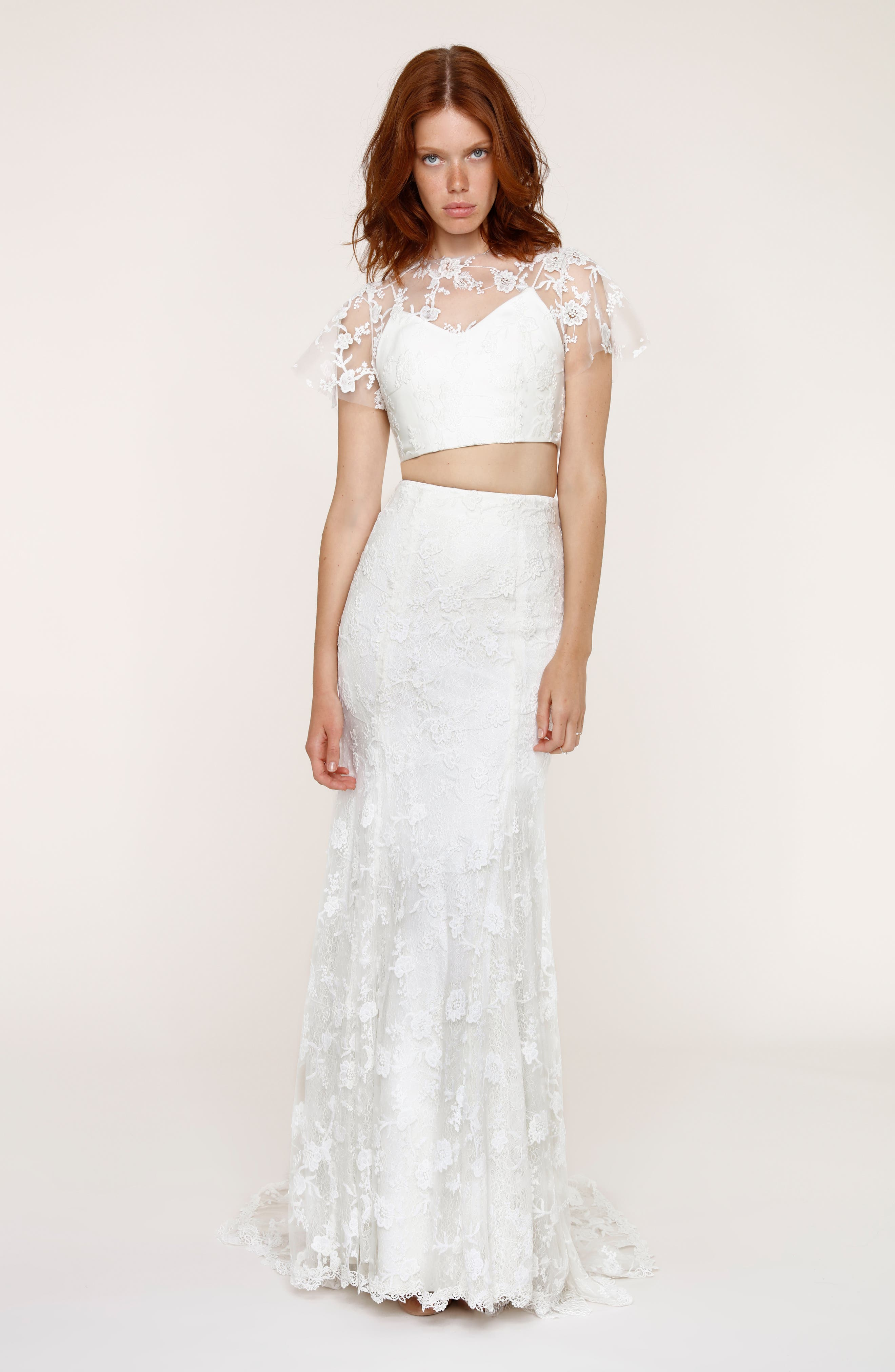 Maddie Lace Two-Piece Mermaid Gown,                             Alternate thumbnail 9, color,                             101