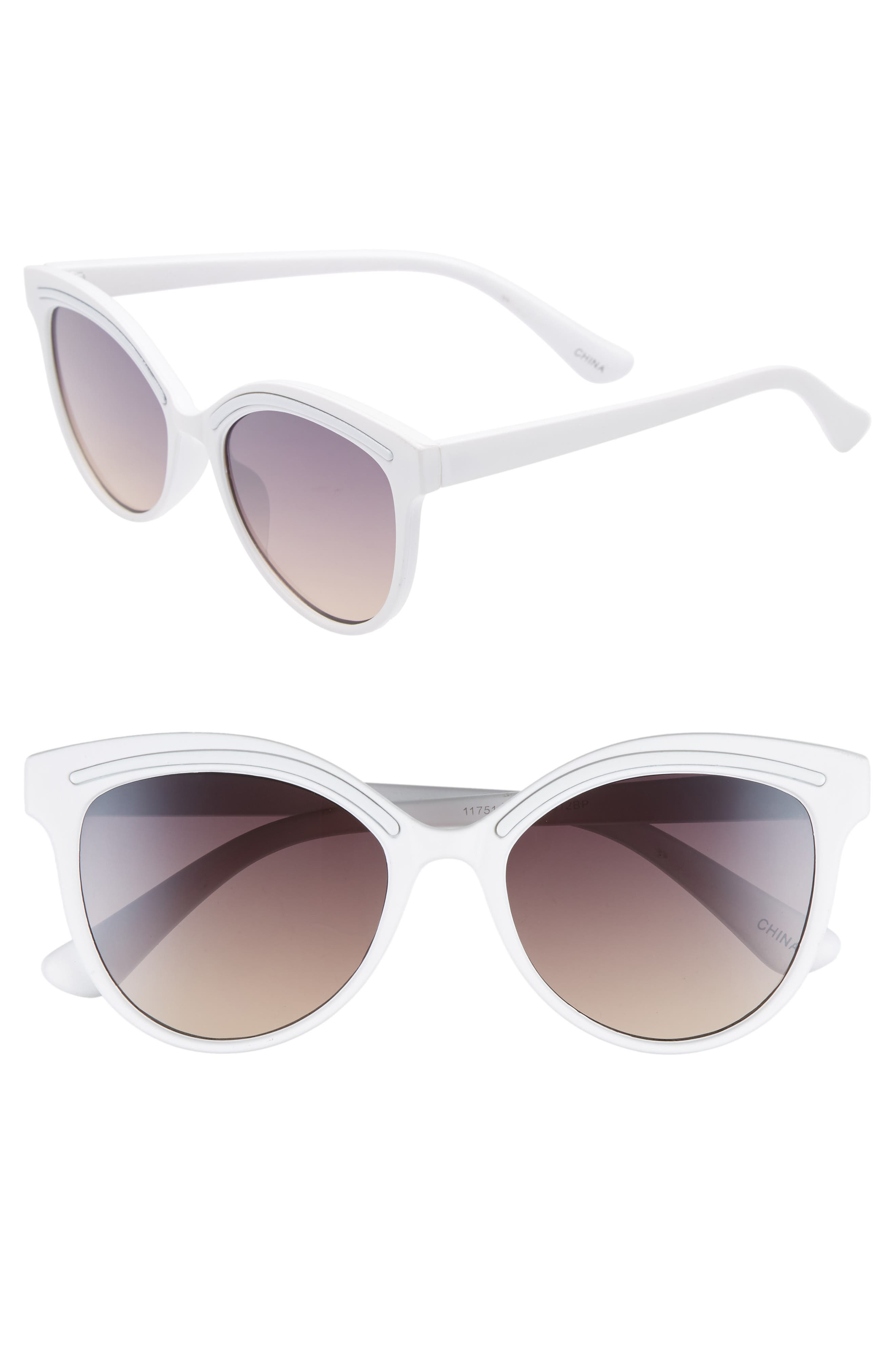 59mm Metallic Accent Cat Eye Sunglasses,                         Main,                         color, WHITE