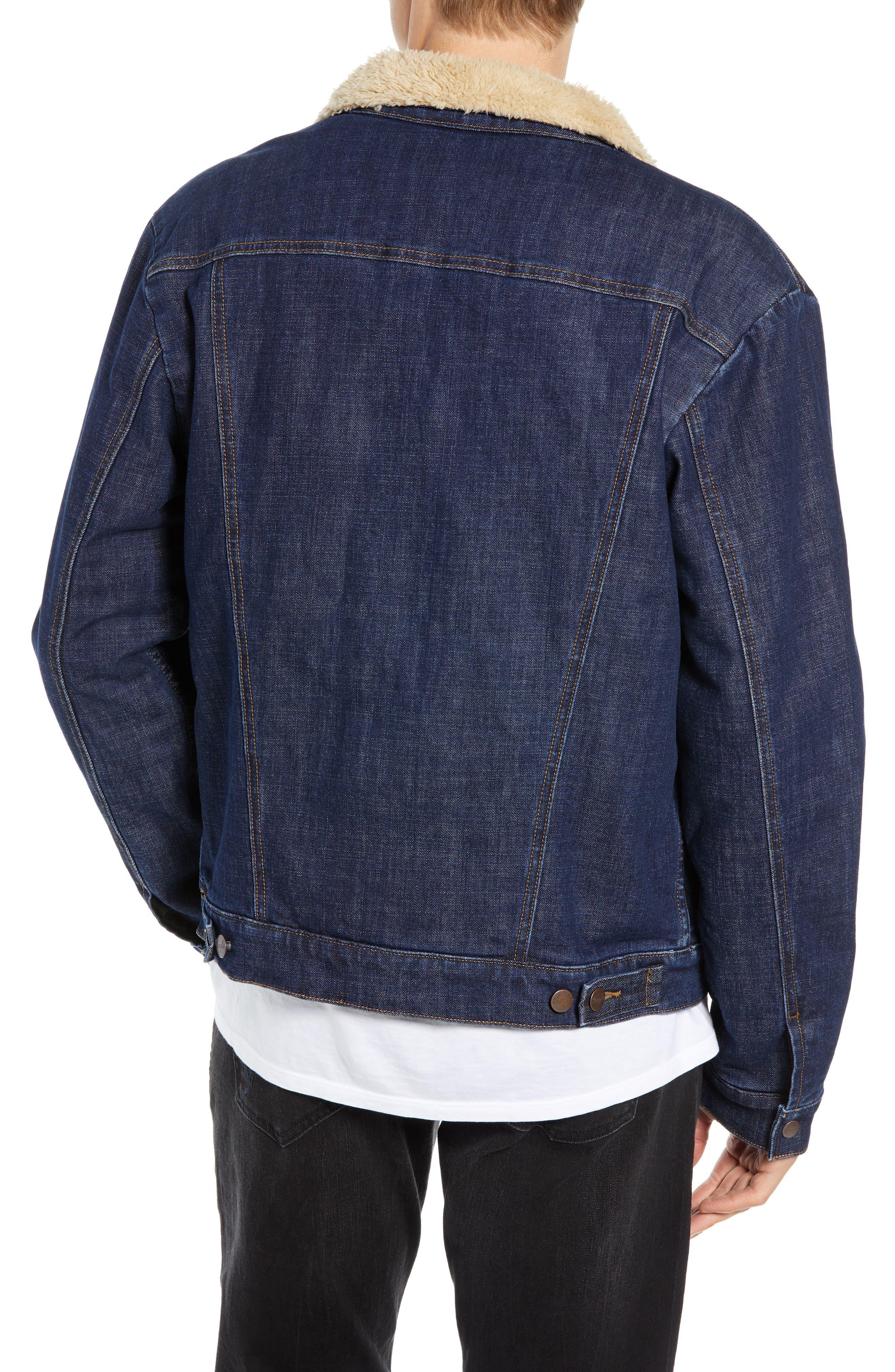 Heritage Fleece Lined Denim Jacket,                             Alternate thumbnail 2, color,                             DARK