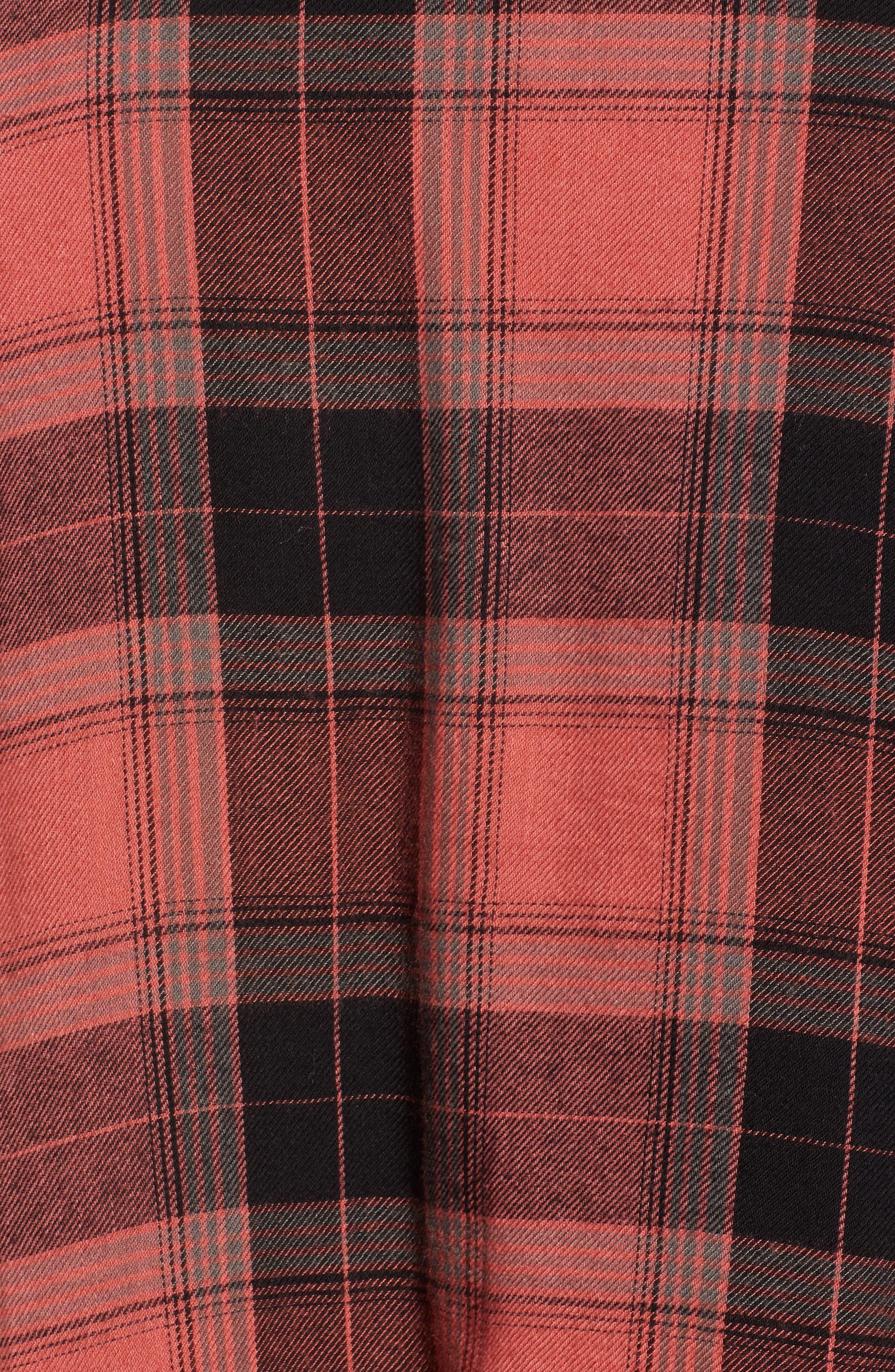Plaid Peplum Shirt,                             Alternate thumbnail 6, color,                             PINK CEDAR SKETCHY PLAID