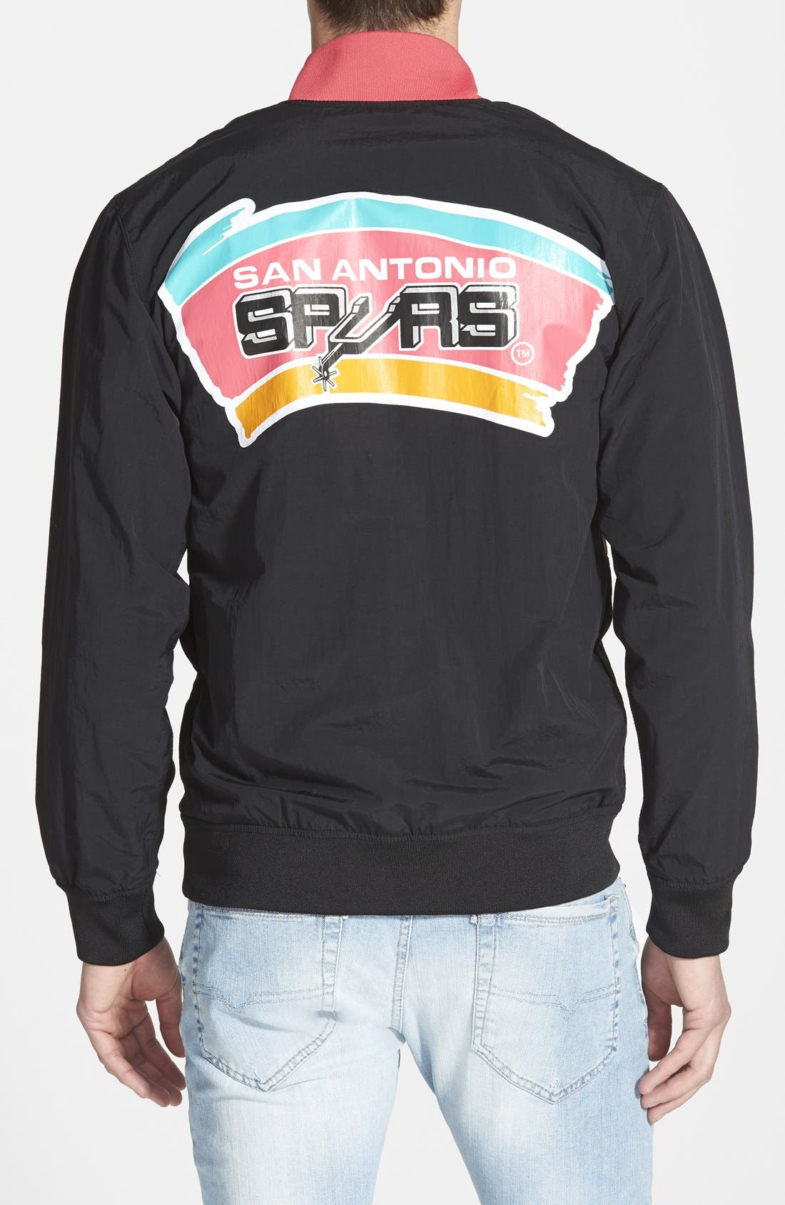 MITCHELL & NESS,                             'San Antonio Spurs' Warm-Up Jacket,                             Alternate thumbnail 8, color,                             001