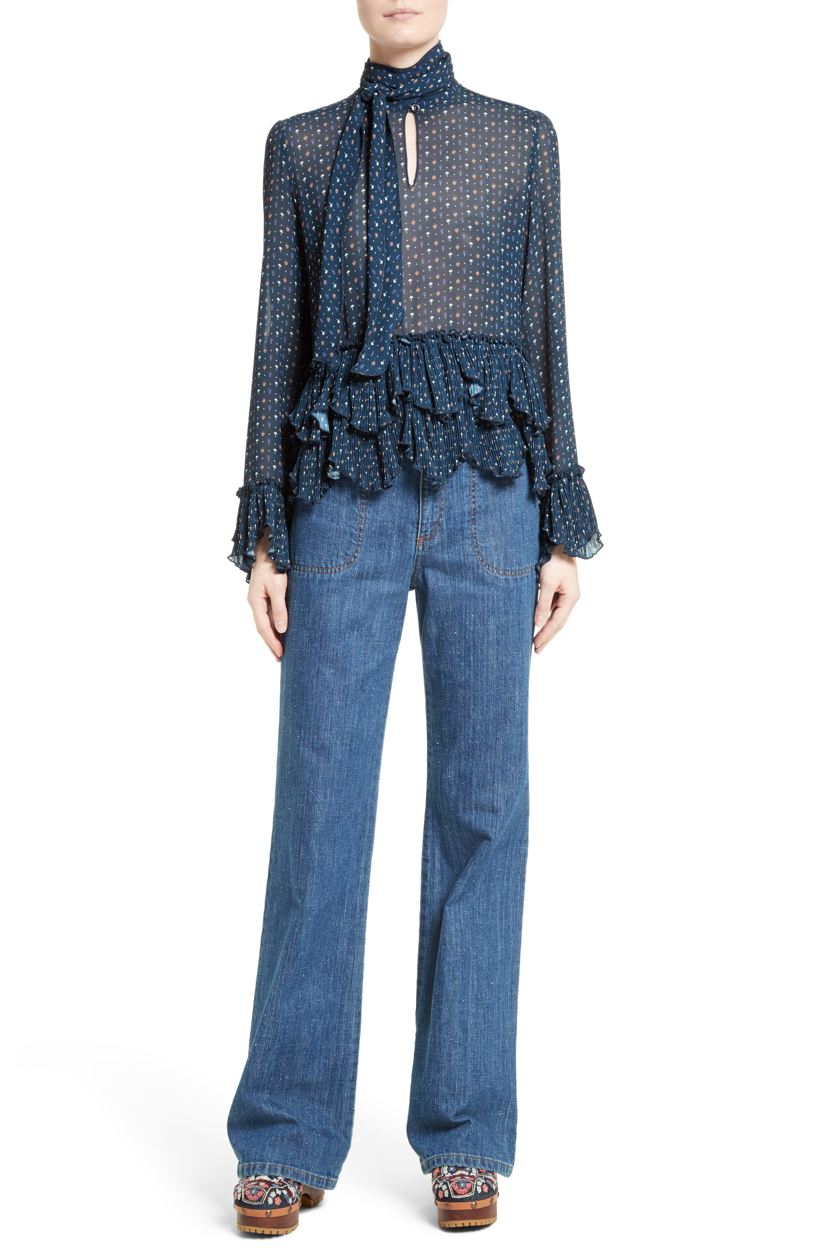 Wide Leg Denim Trousers,                             Alternate thumbnail 6, color,                             412