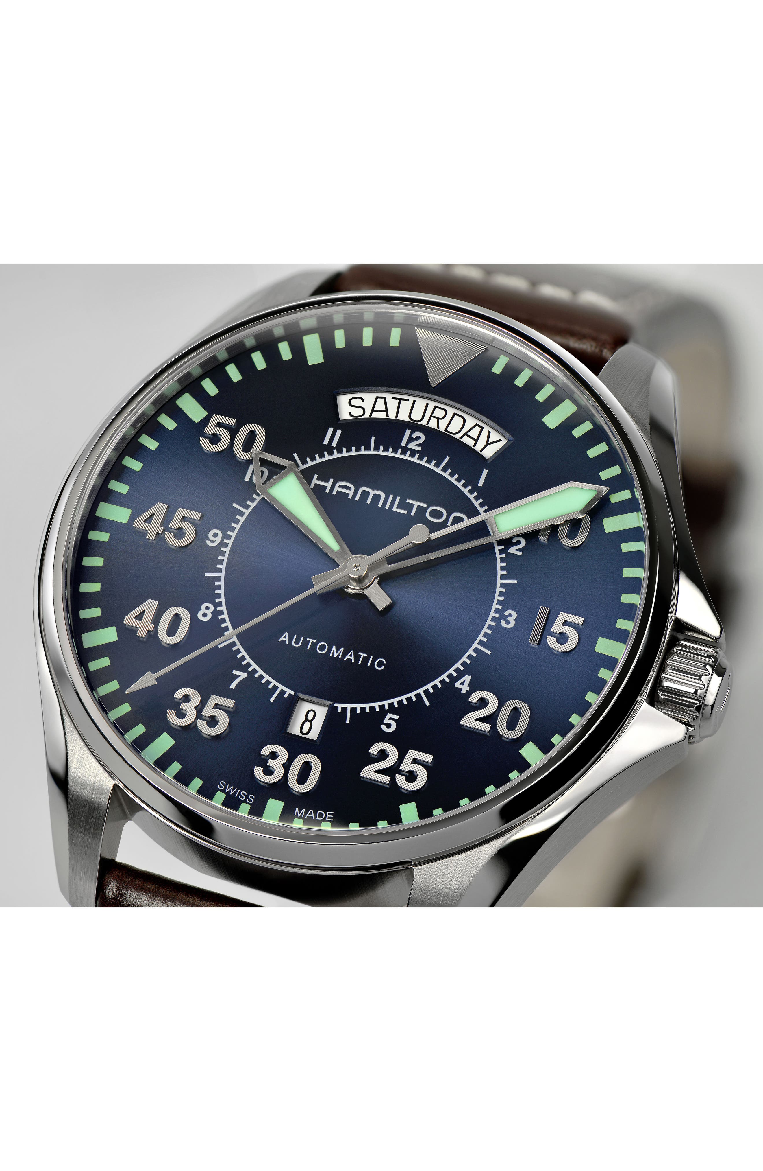 Khaki Pilot Automatic Leather Strap Watch, 42mm,                             Alternate thumbnail 2, color,                             BROWN/ NAVY/ SILVER