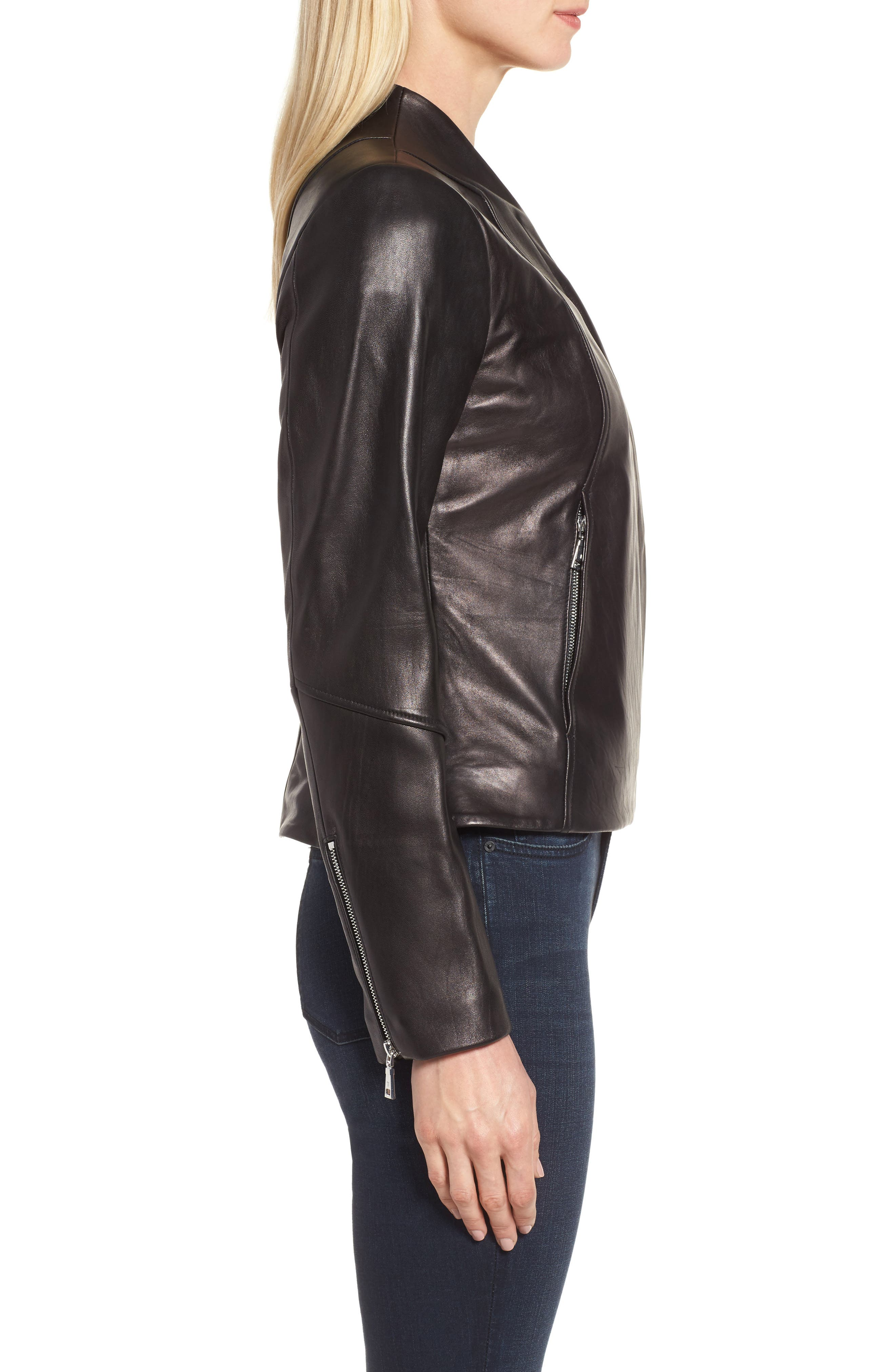 Seam Leather Jacket,                             Alternate thumbnail 3, color,