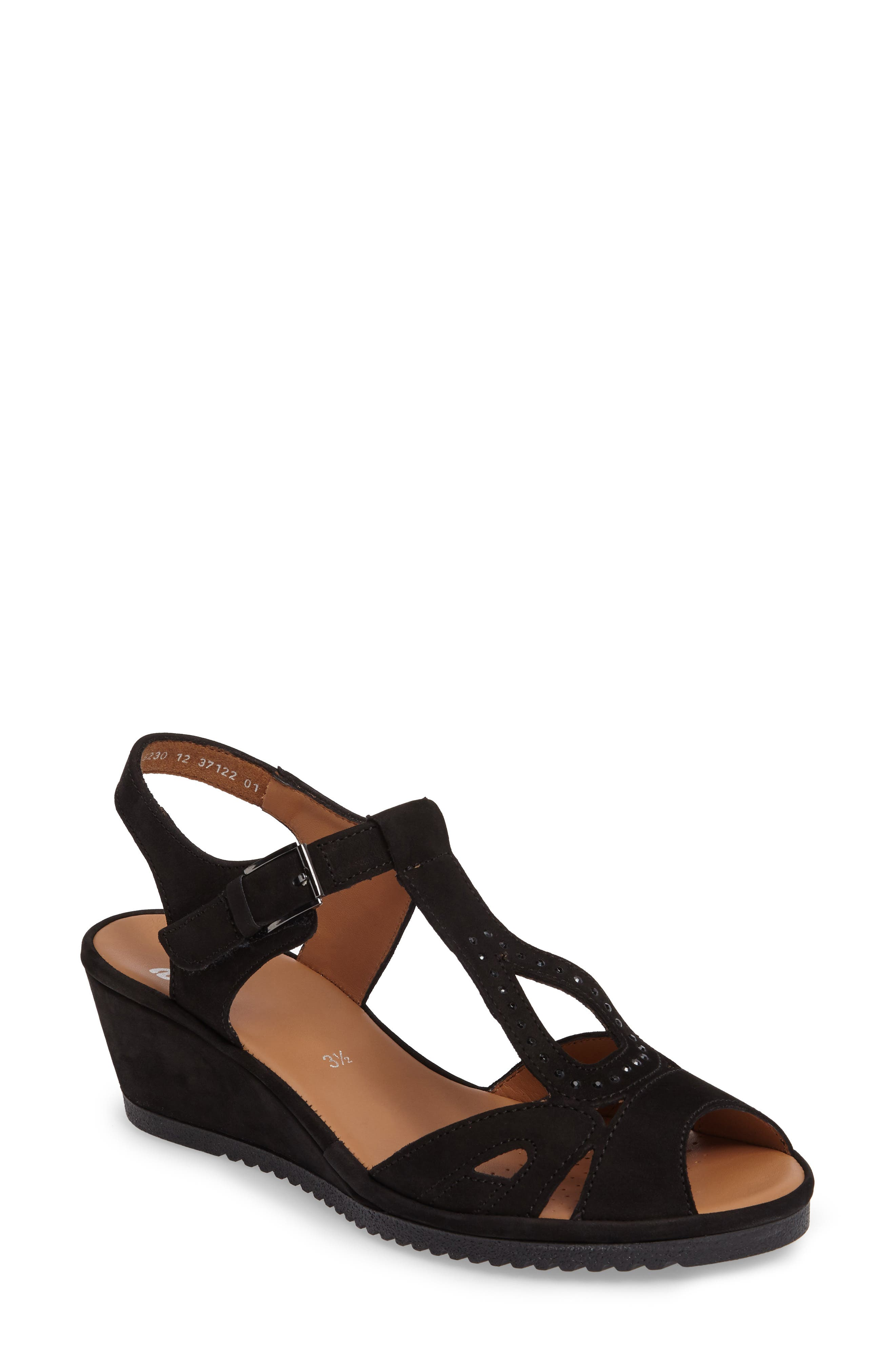 ARA Wedge Sandal, Main, color, BLACK
