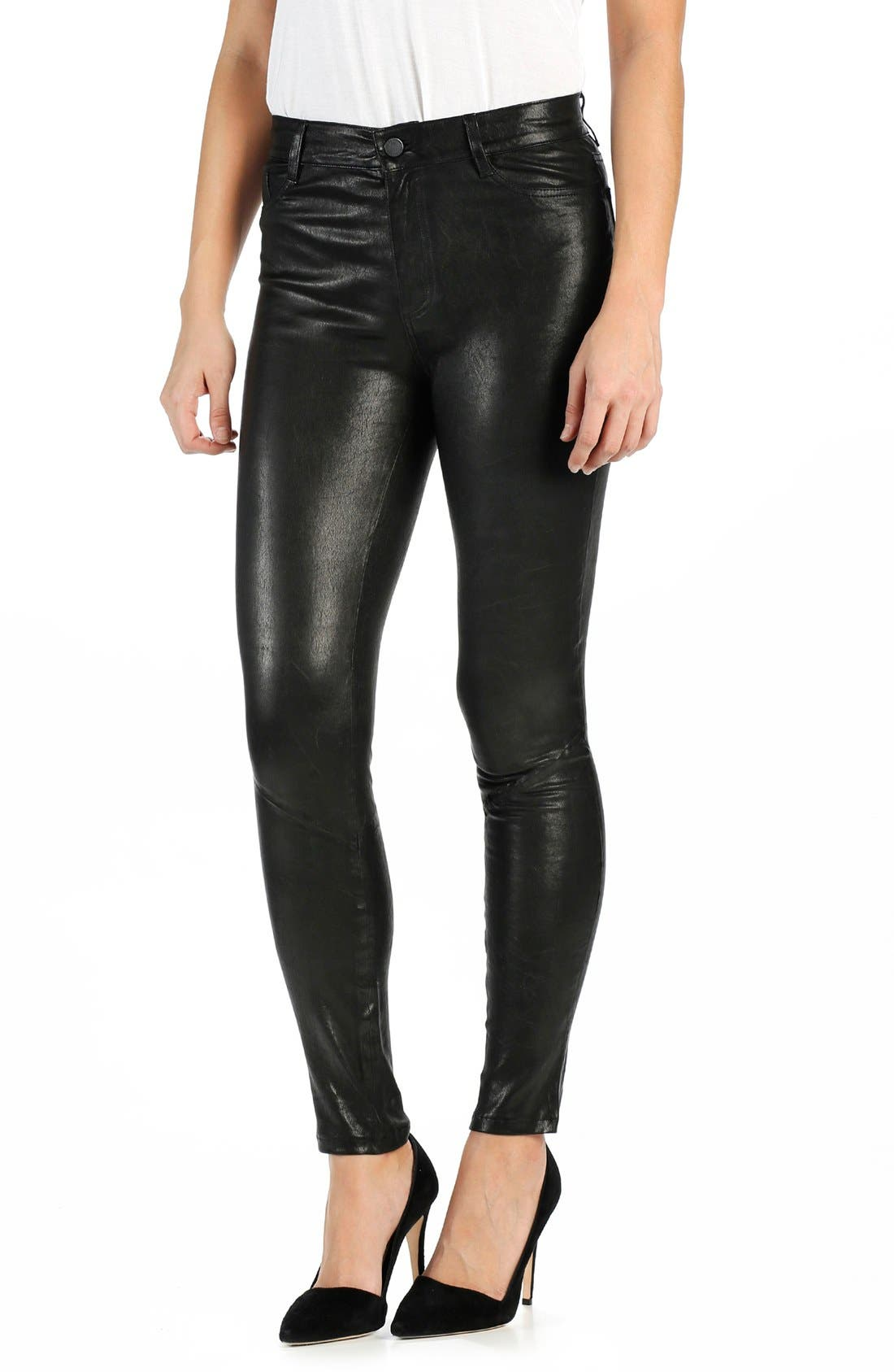 'Hoxton' High Rise Ultra Skinny Leather Pants,                             Main thumbnail 1, color,                             BLACK