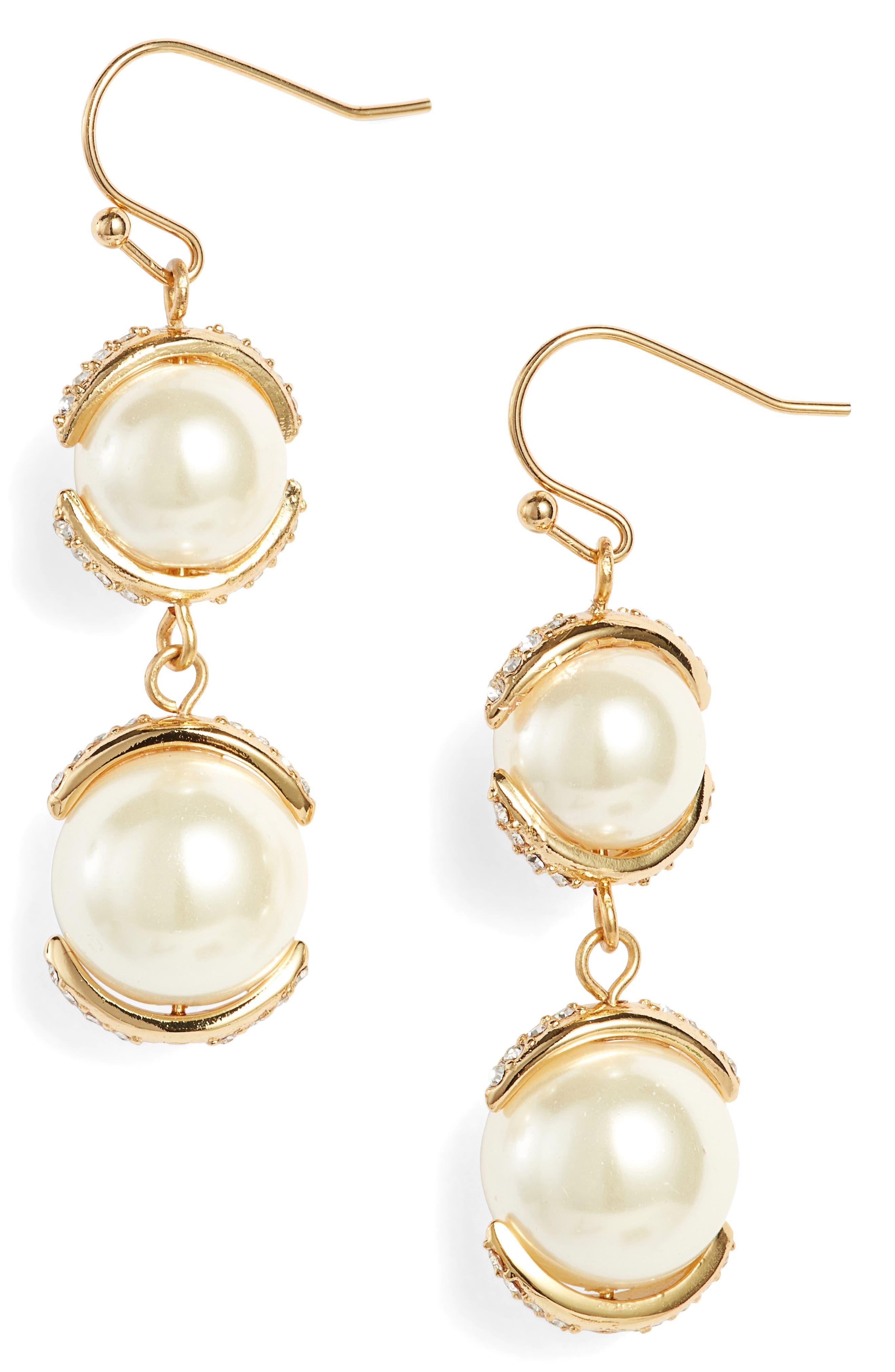 Imitation Pearl Drop Earrings,                             Main thumbnail 1, color,                             710