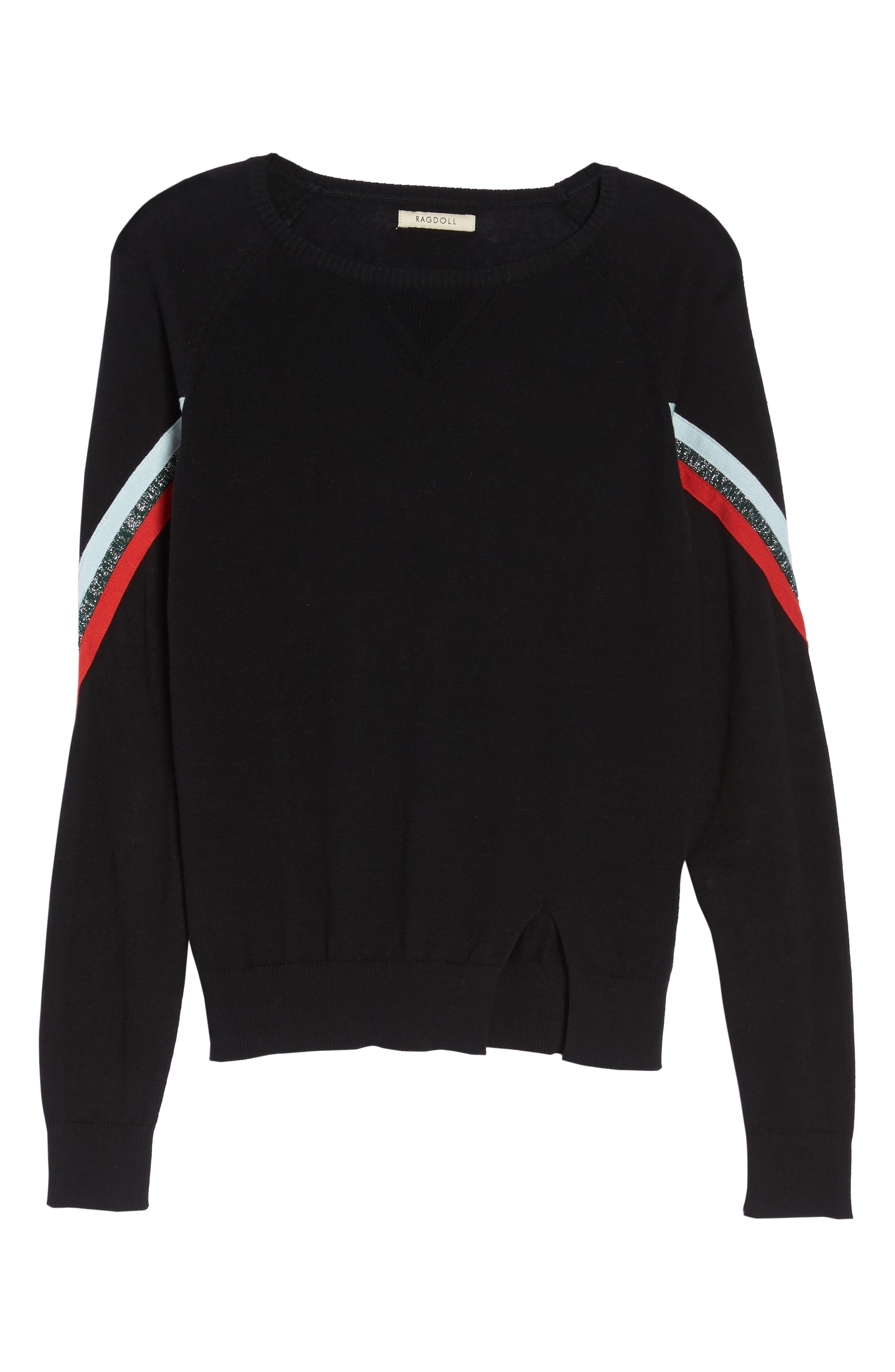 Rainbow Stripe Sweater,                             Alternate thumbnail 6, color,                             001