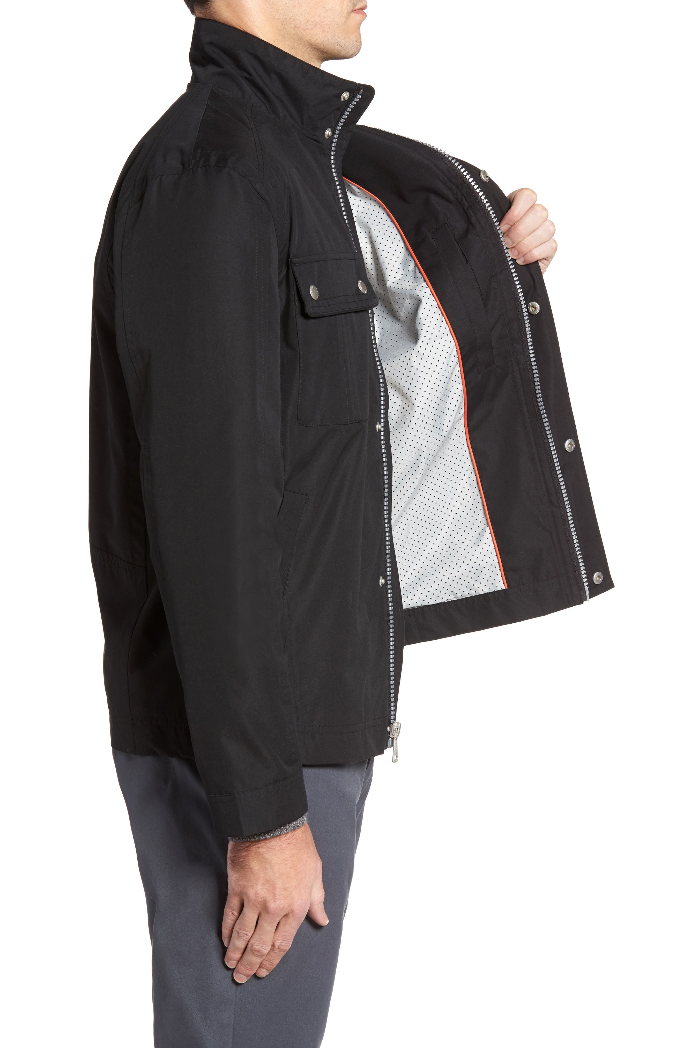 Stand Collar Water Repellent Jacket,                             Alternate thumbnail 3, color,                             001
