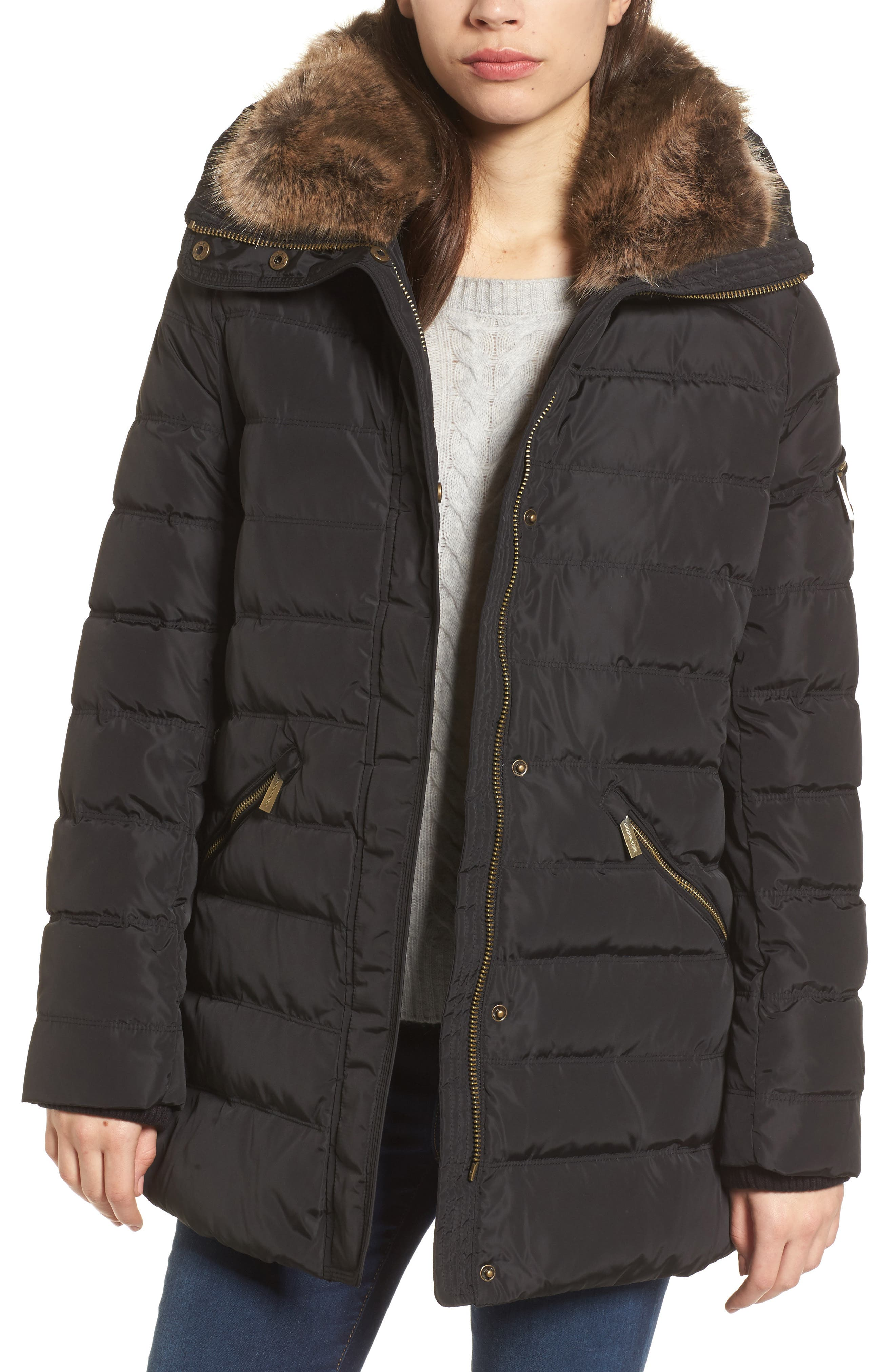 Hooded Coat with Faux Fur Trim,                         Main,                         color, 001