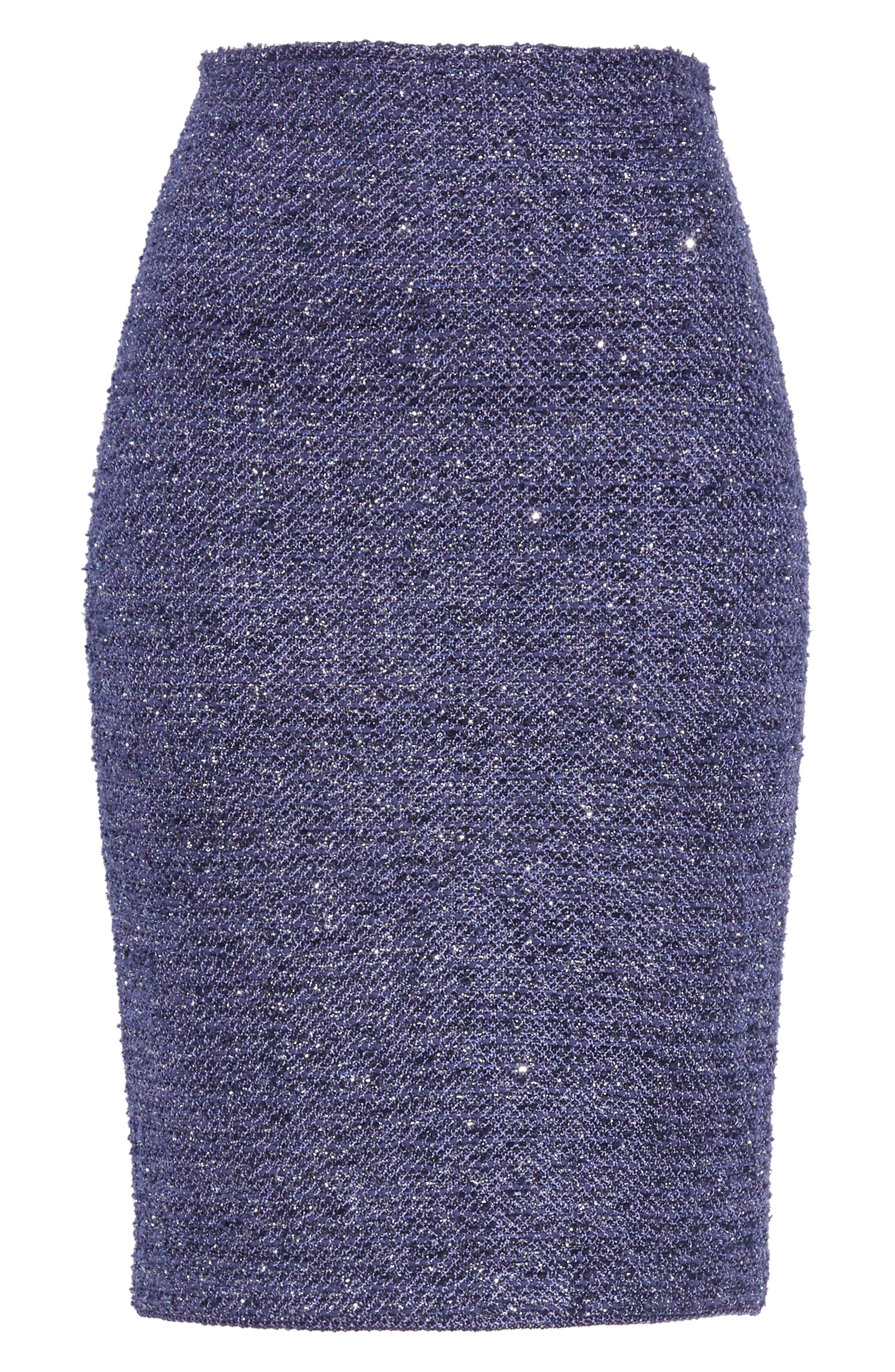 Starlight Knit Pencil Skirt,                             Alternate thumbnail 6, color,                             VIOLA MULTI
