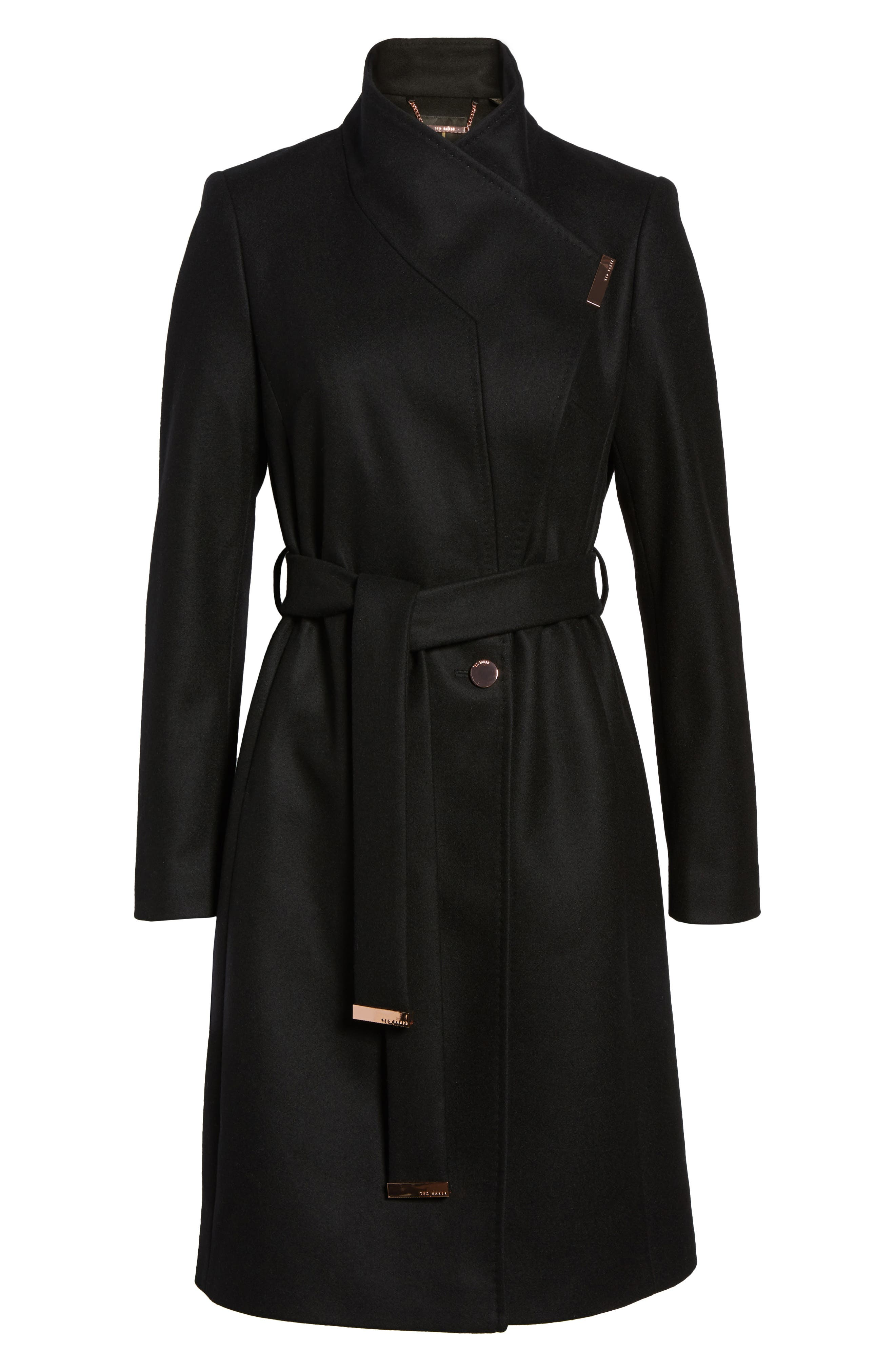 Wool Blend Long Wrap Coat,                             Alternate thumbnail 6, color,                             BLACK