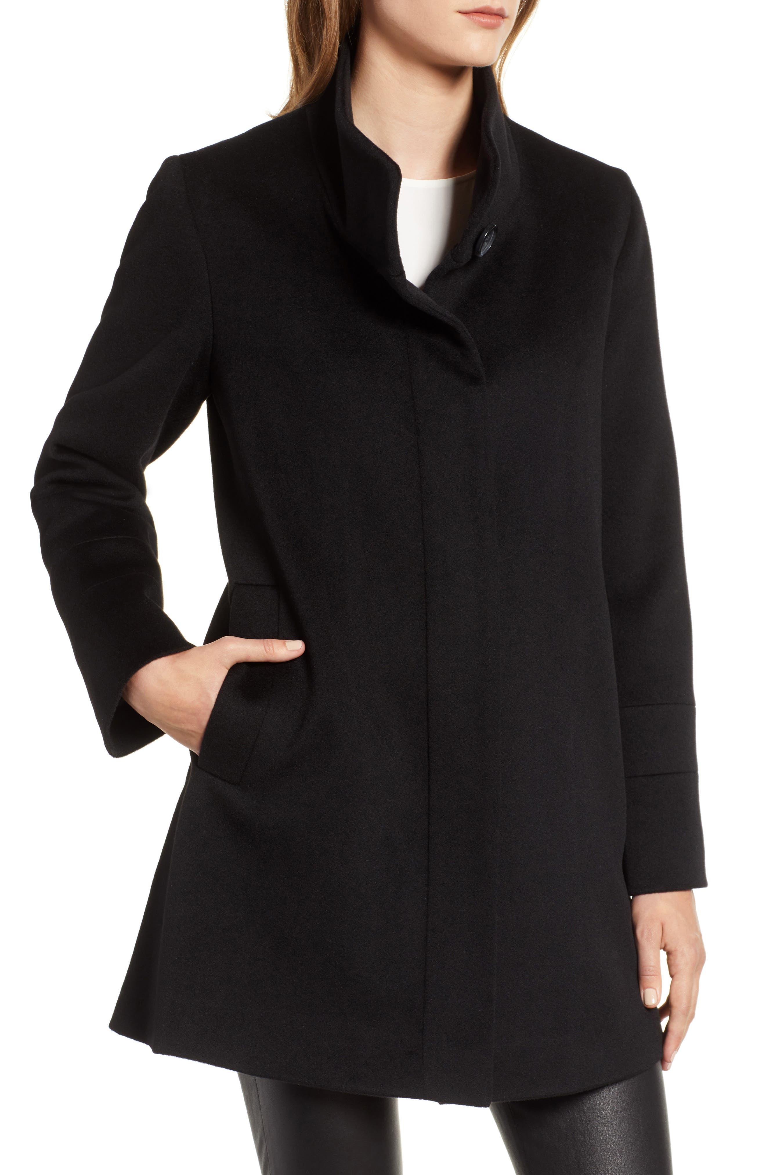 Placket Front Wool Car Coat,                             Alternate thumbnail 4, color,                             BLACK