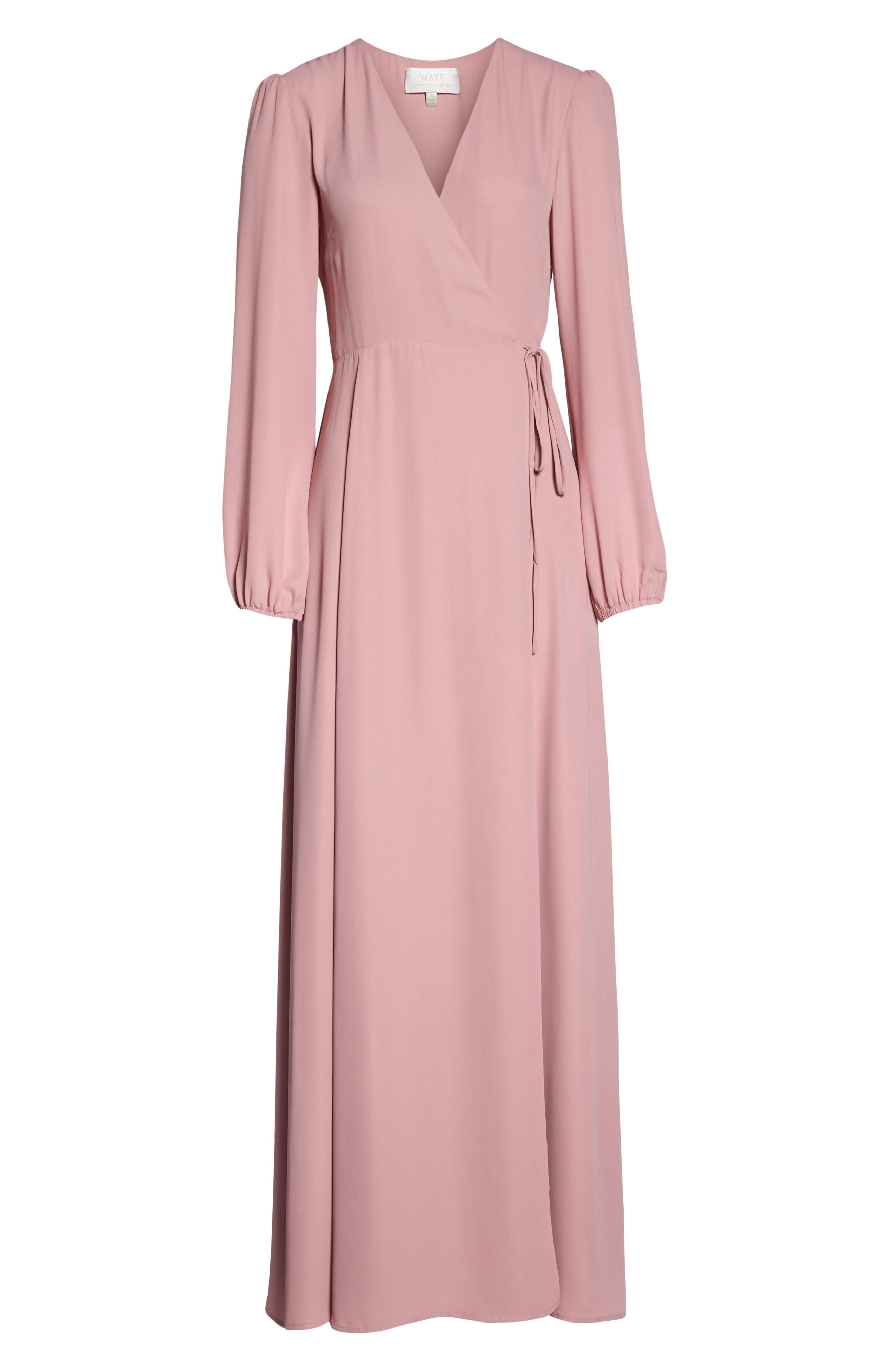 Lila Long Sleeve Wrap Gown,                             Alternate thumbnail 7, color,                             DESERT ROSE