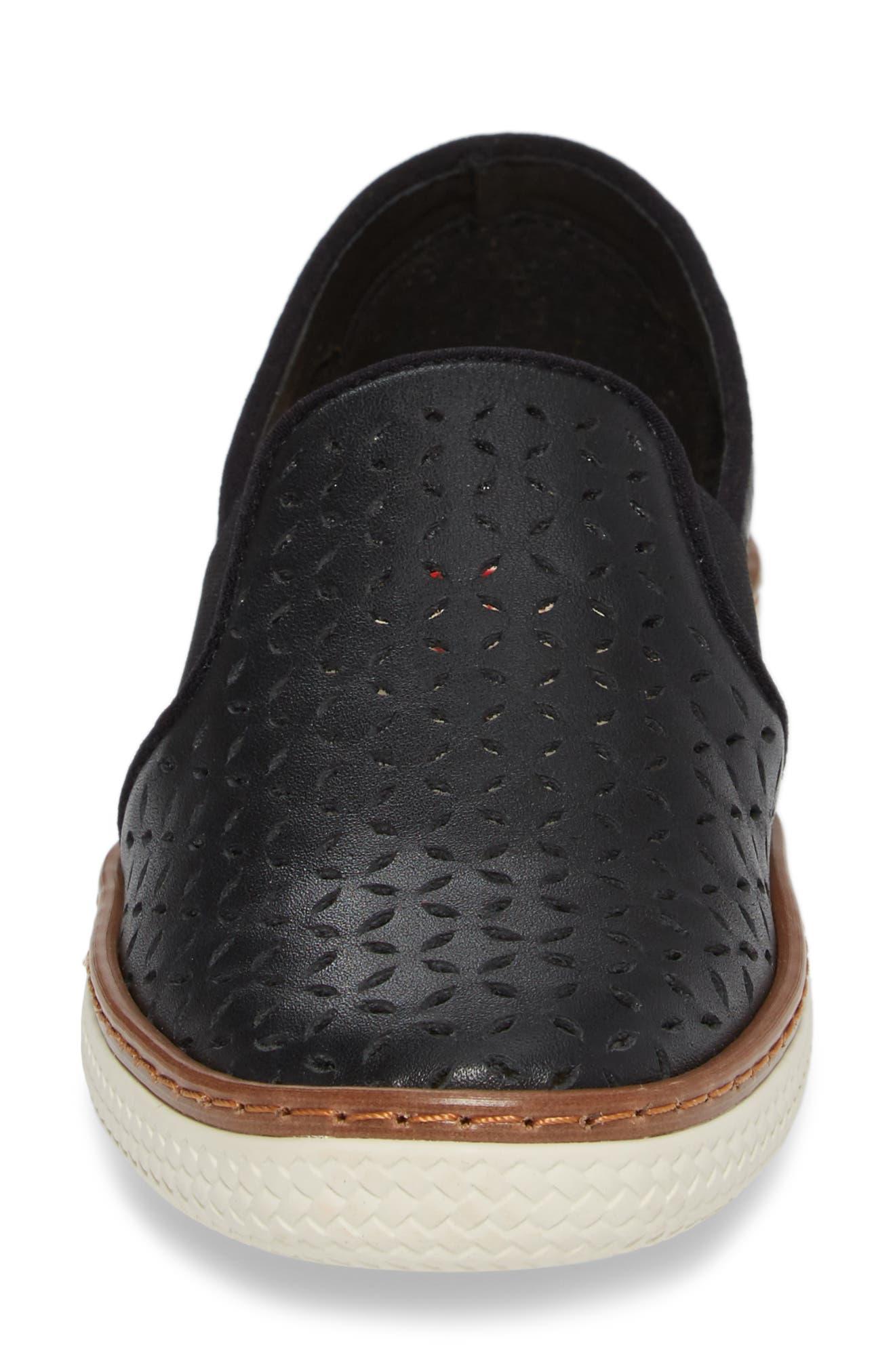Jasper Perforated Loafer Flat,                             Alternate thumbnail 4, color,                             001