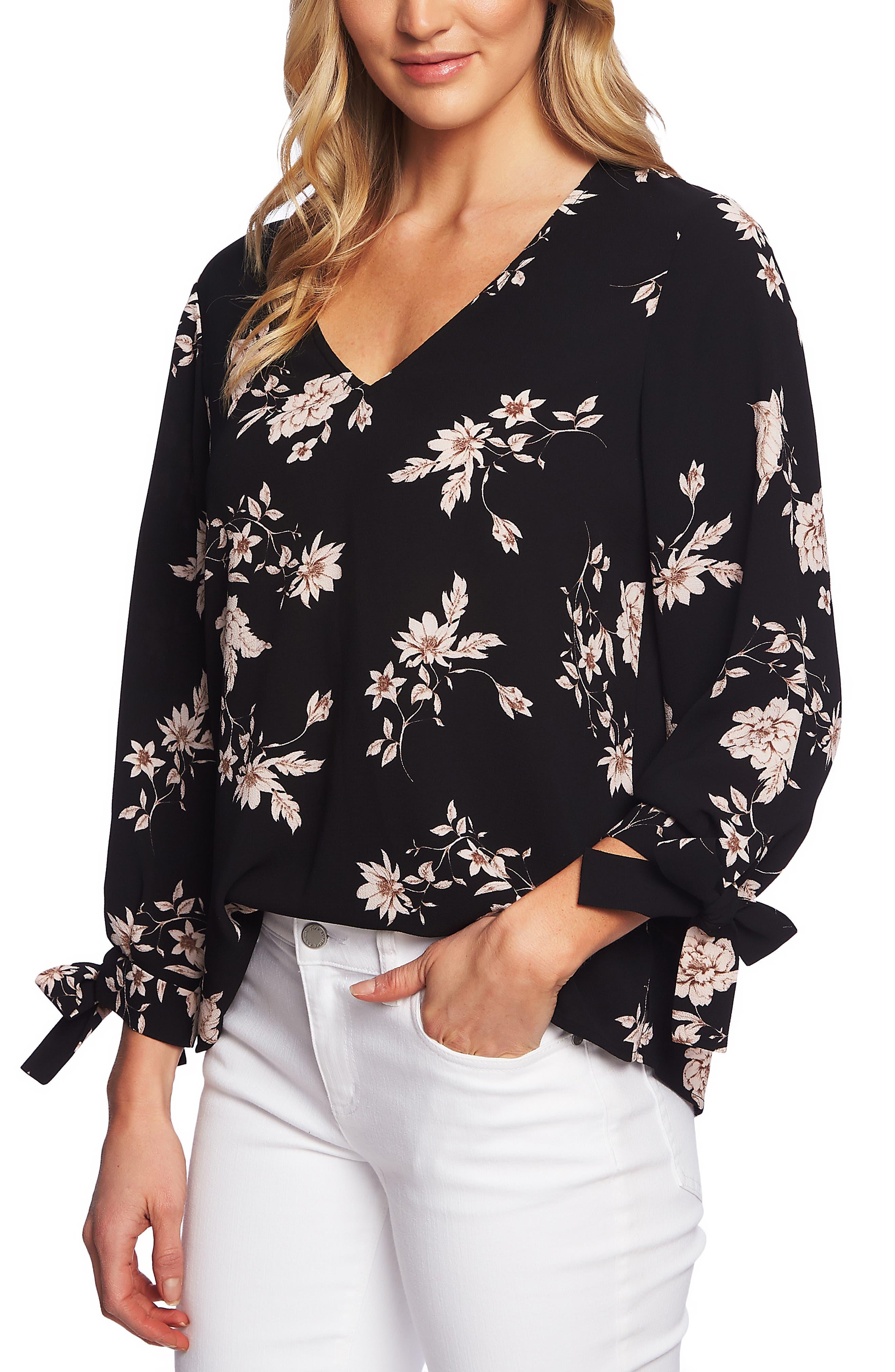 CECE Etched Floral Blouse, Main, color, RICK BLACK