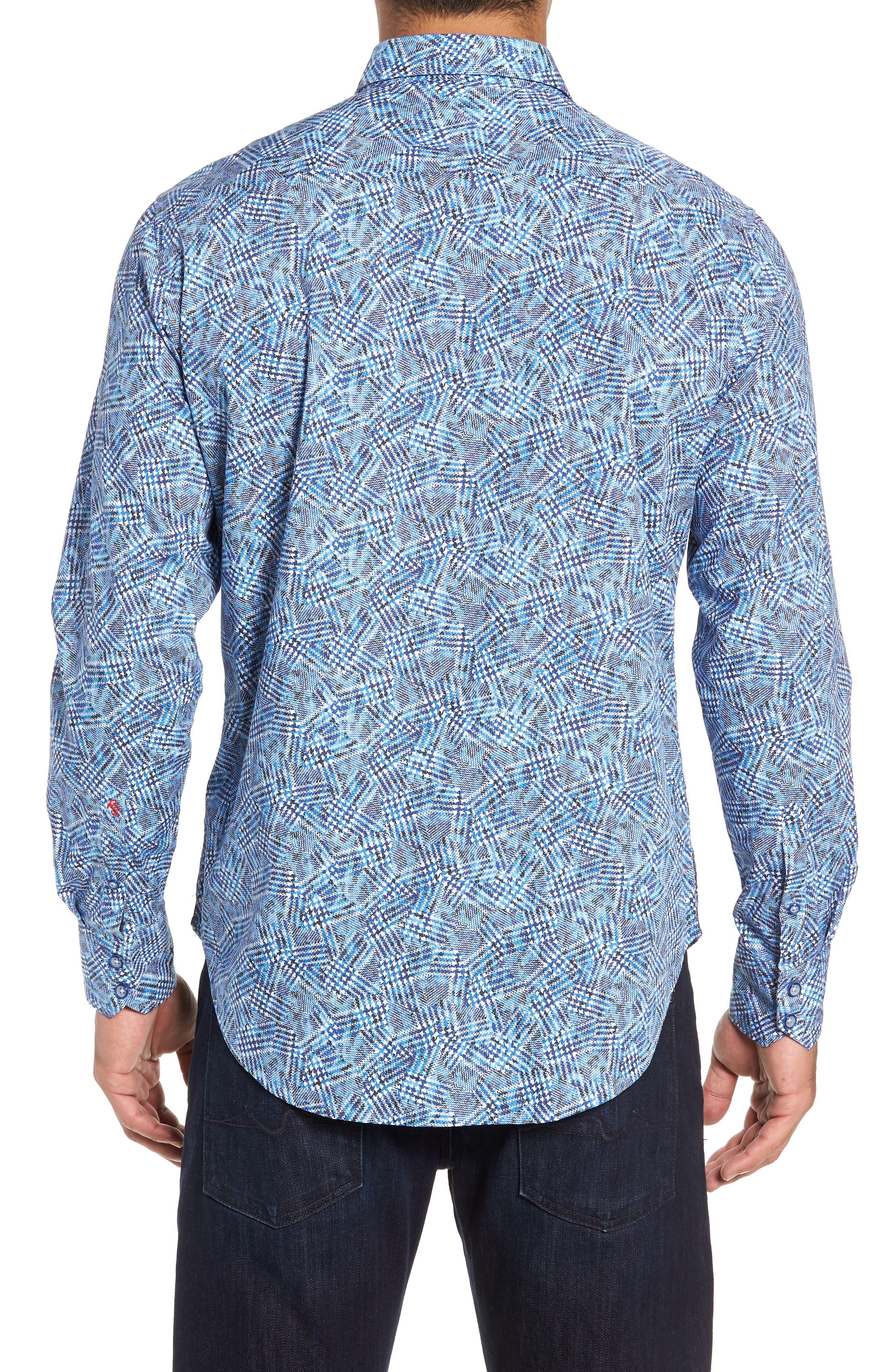 Hutchinson Classic Fit Print Sport Shirt,                             Alternate thumbnail 3, color,                             BLUE