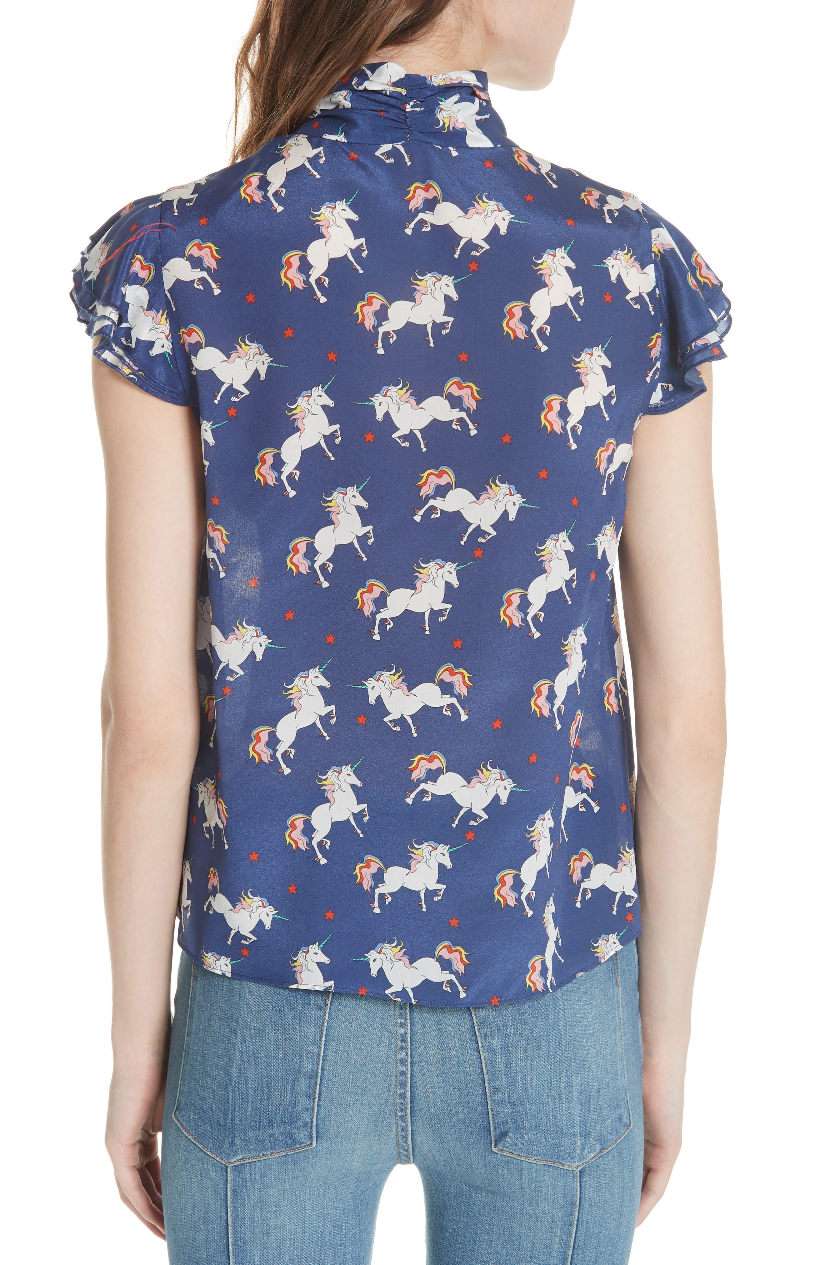 Laney Unicorn Flutter Sleeve Silk Blouse,                             Alternate thumbnail 2, color,                             416