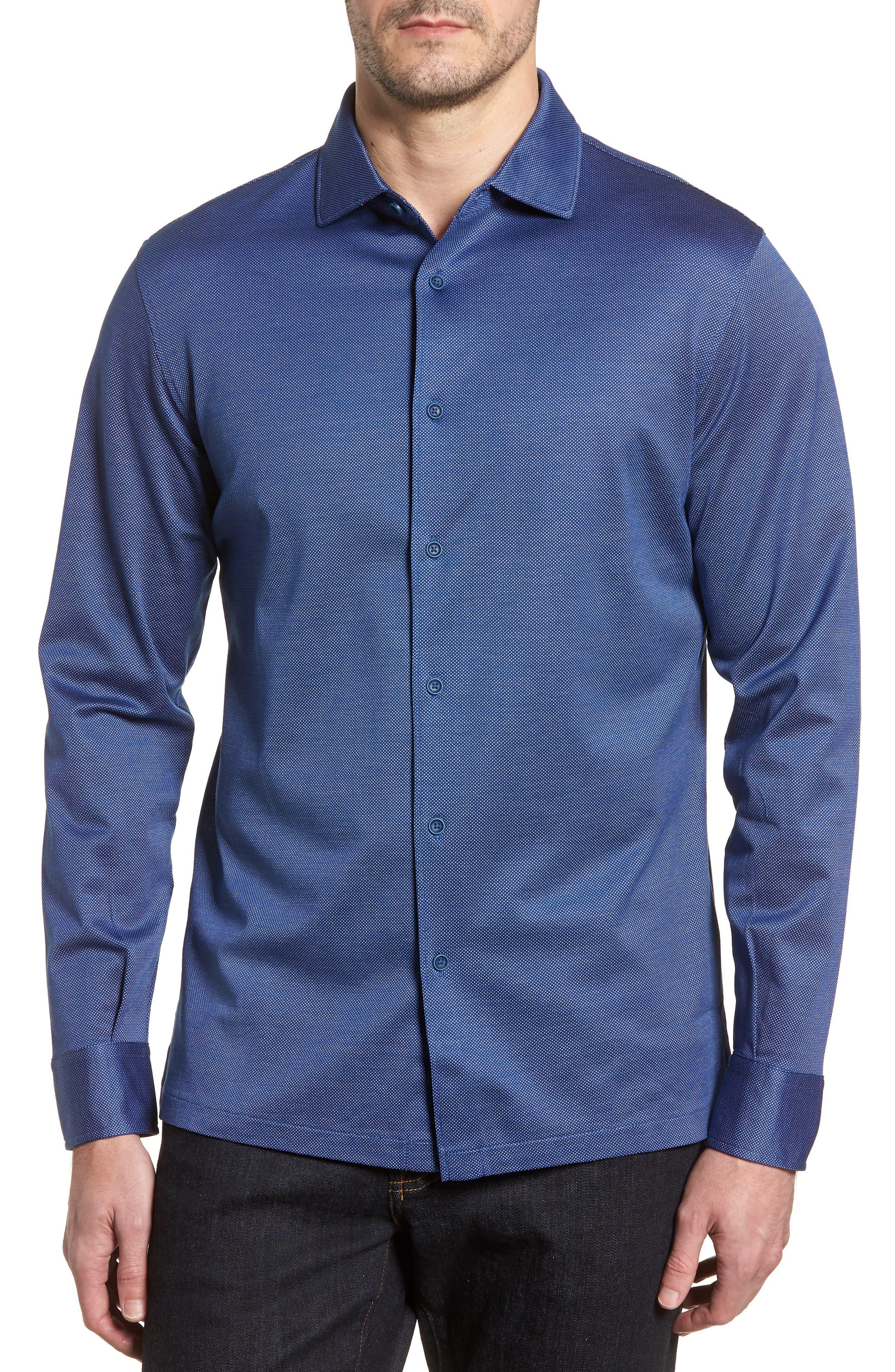 Regular Fit Microdot Print Knit Sport Shirt,                         Main,                         color, 411