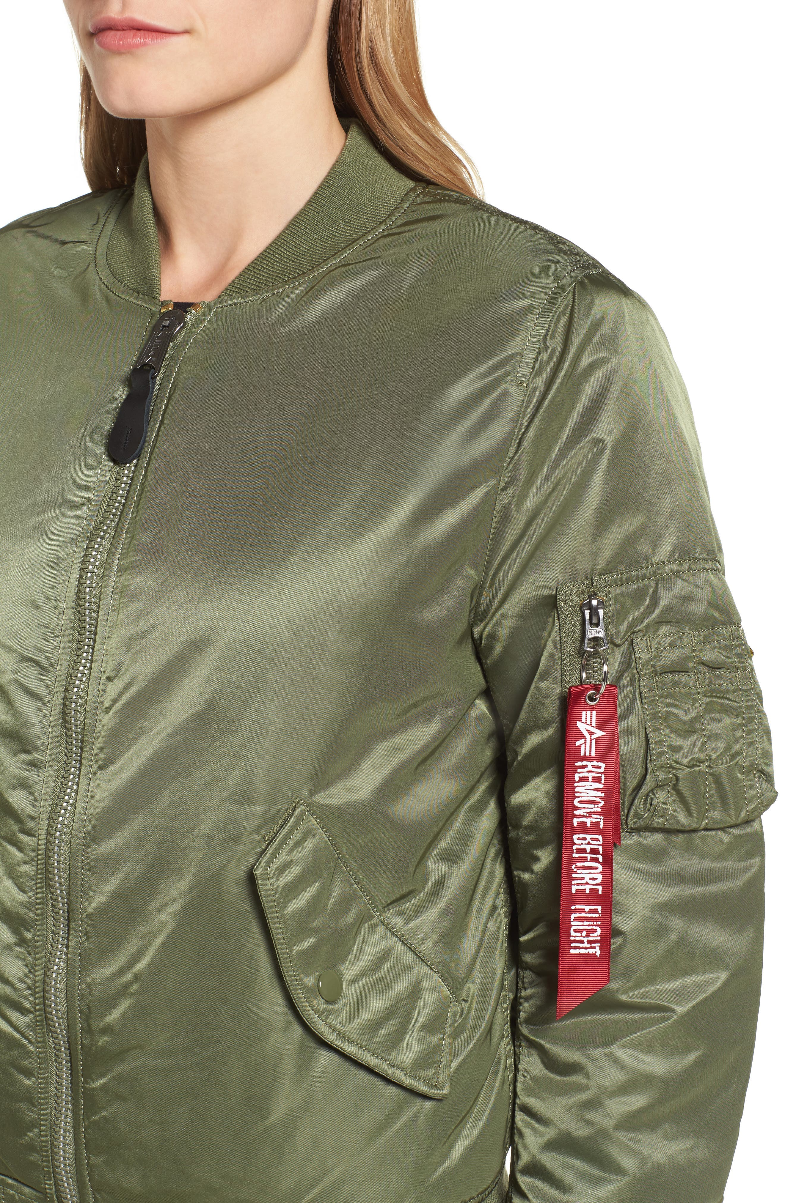 ALPHA INDUSTRIES,                             MA-1 W Bomber Jacket,                             Alternate thumbnail 5, color,                             SAGE GREEN