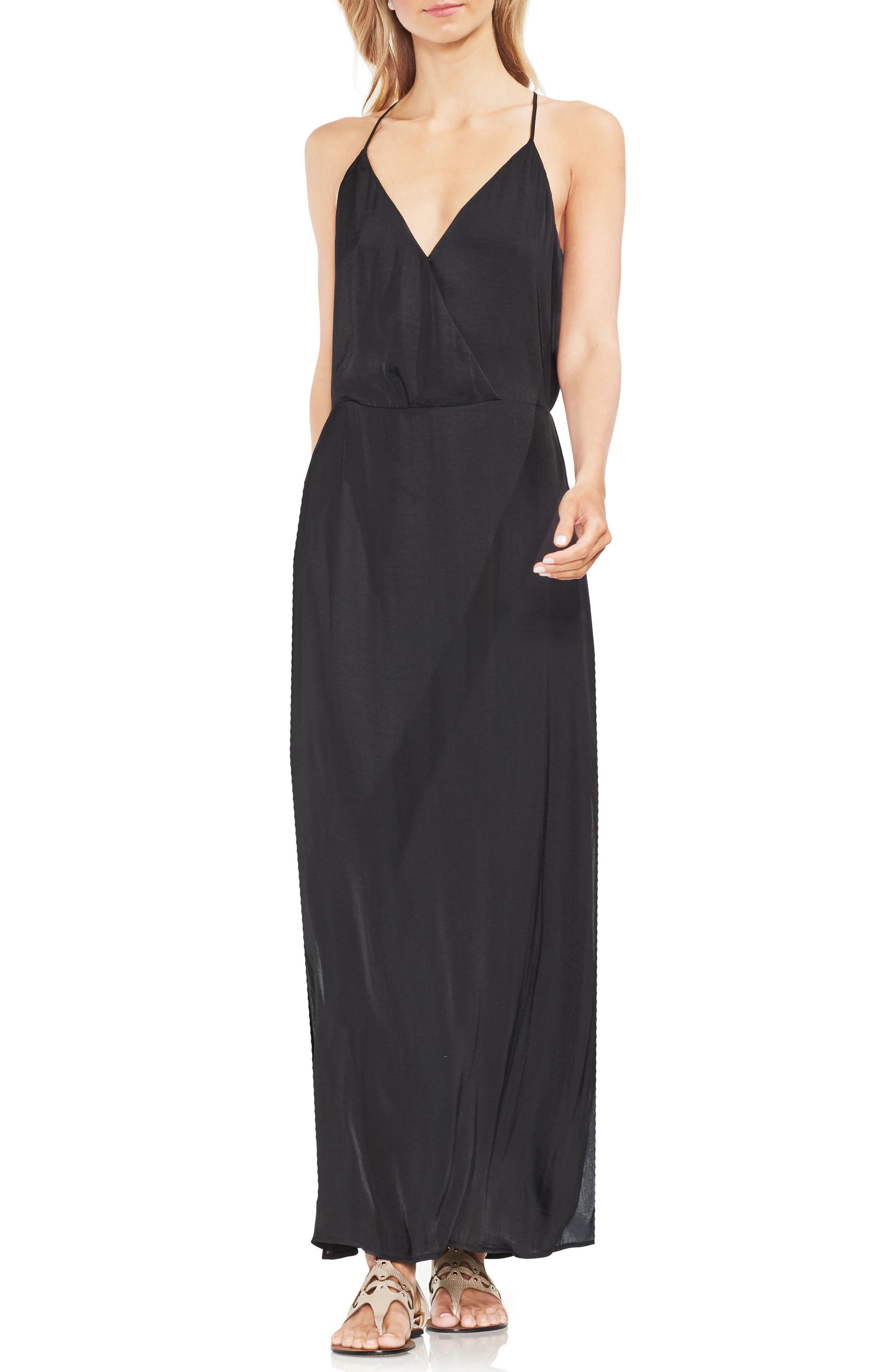 Hammered Satin Wrap Front Maxi Dress,                             Main thumbnail 1, color,                             001