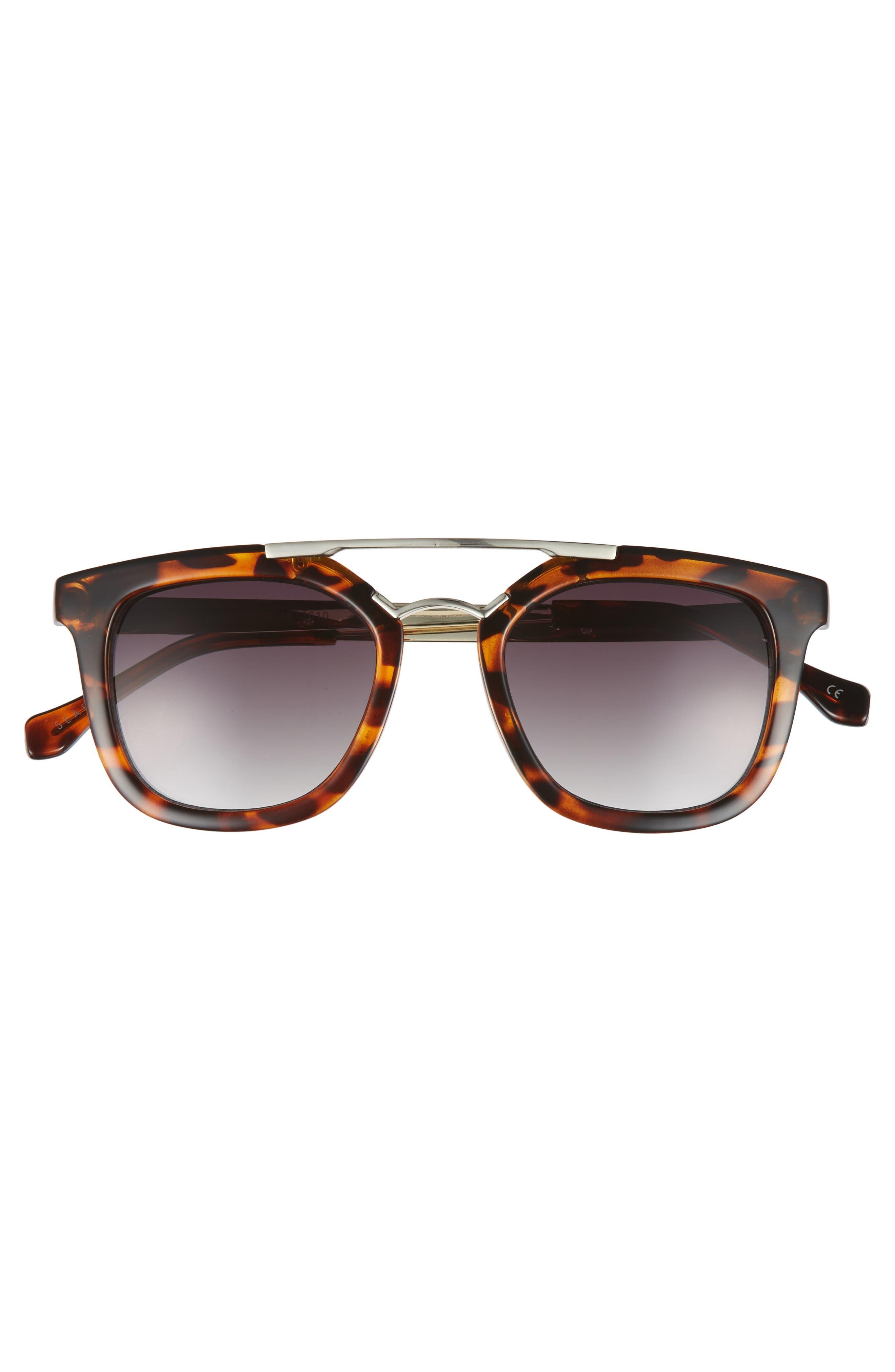 Del Mar 49mm Tortiseshell Aviator Sunglasses,                             Alternate thumbnail 3, color,                             DARK TORT