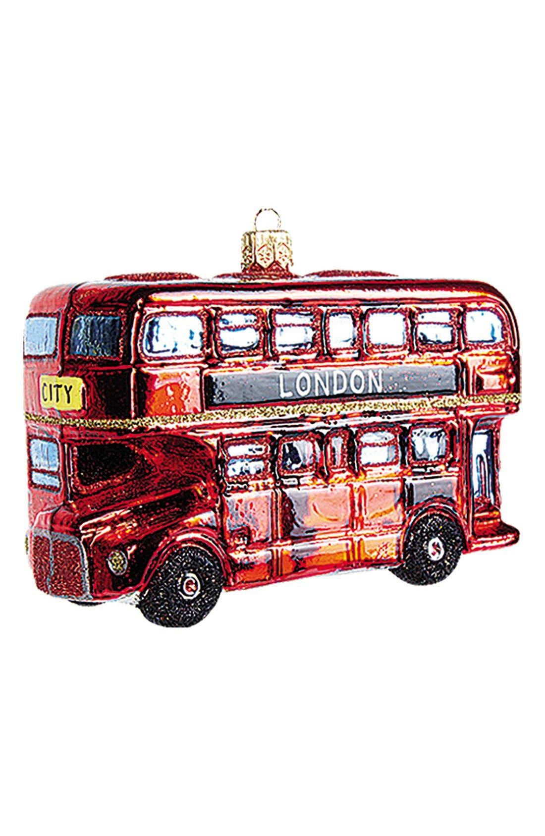 London Bus Handblown Glass Ornament,                         Main,                         color, 600