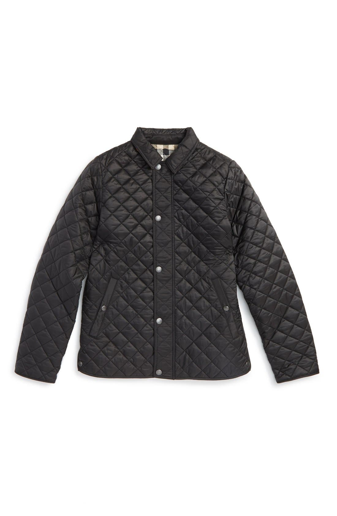 BURBERRY,                             Quilted Jacket,                             Main thumbnail 1, color,                             001