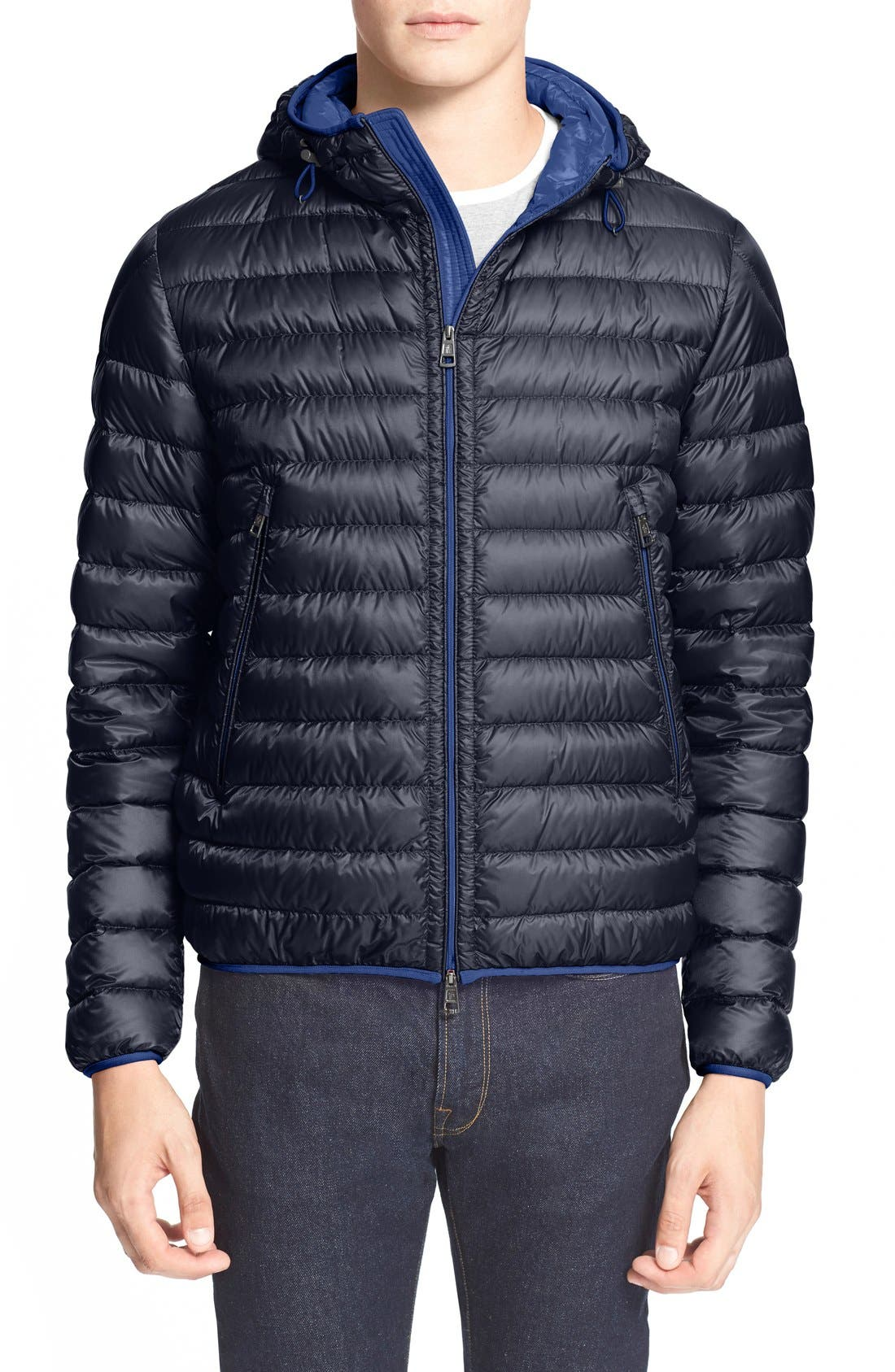 'Mir' Hooded Quilted Down Jacket, Main, color, 400