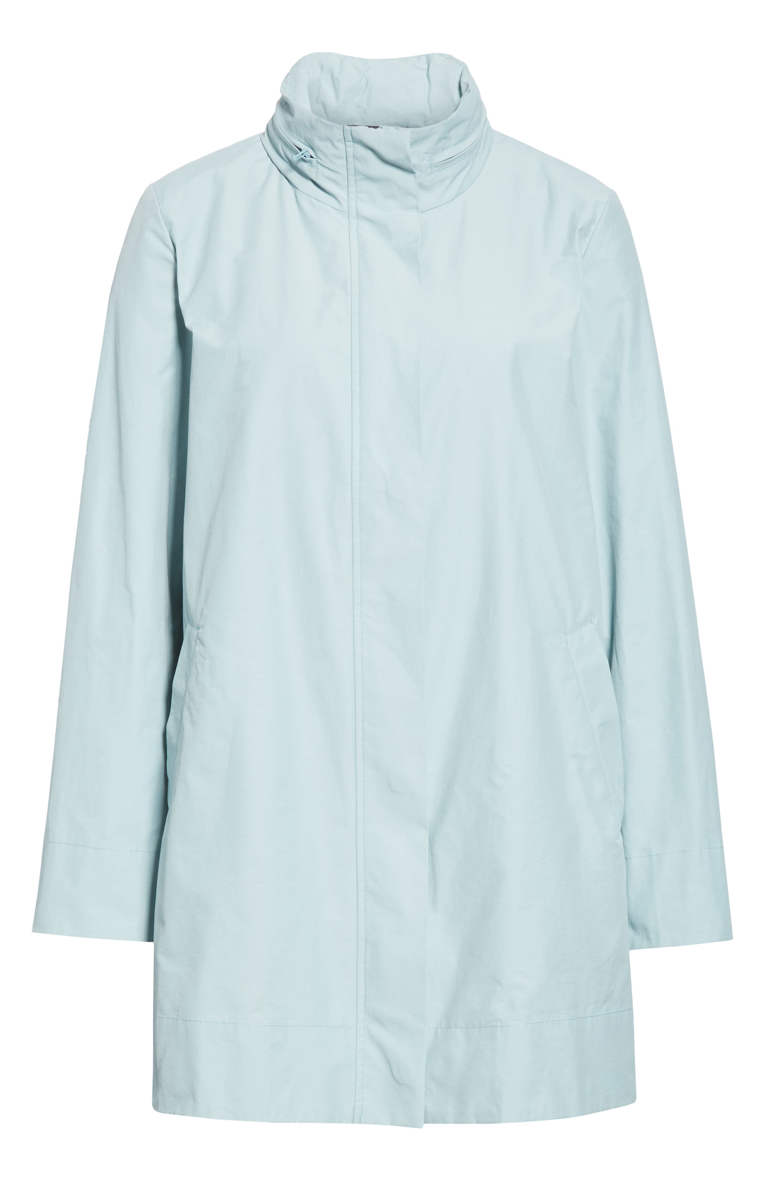 EILEEN FISHER,                             A-Line Jacket,                             Alternate thumbnail 6, color,                             BLUE IVY