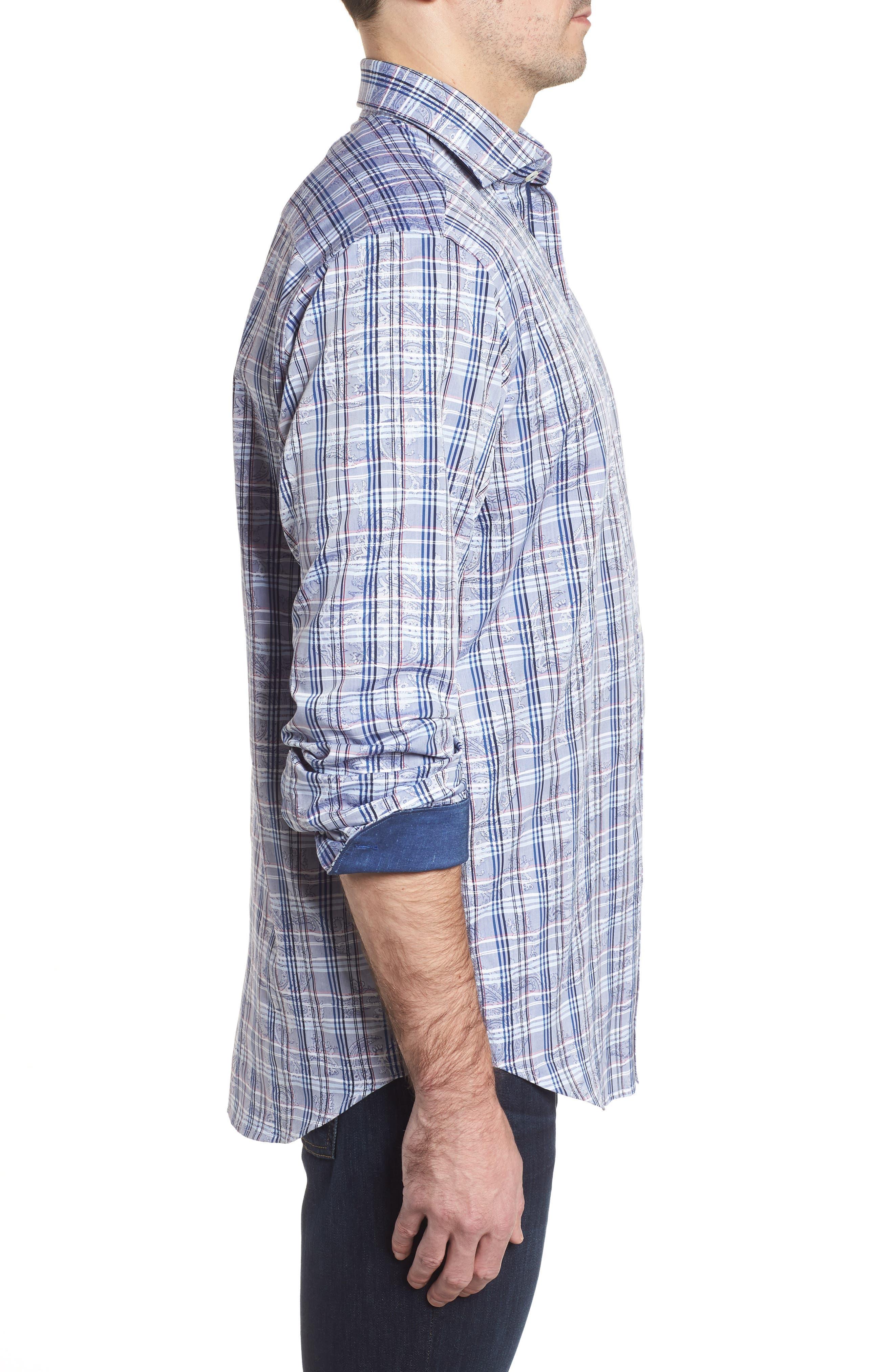 Classic Fit Check Paisley Sport Shirt,                             Alternate thumbnail 3, color,                             422