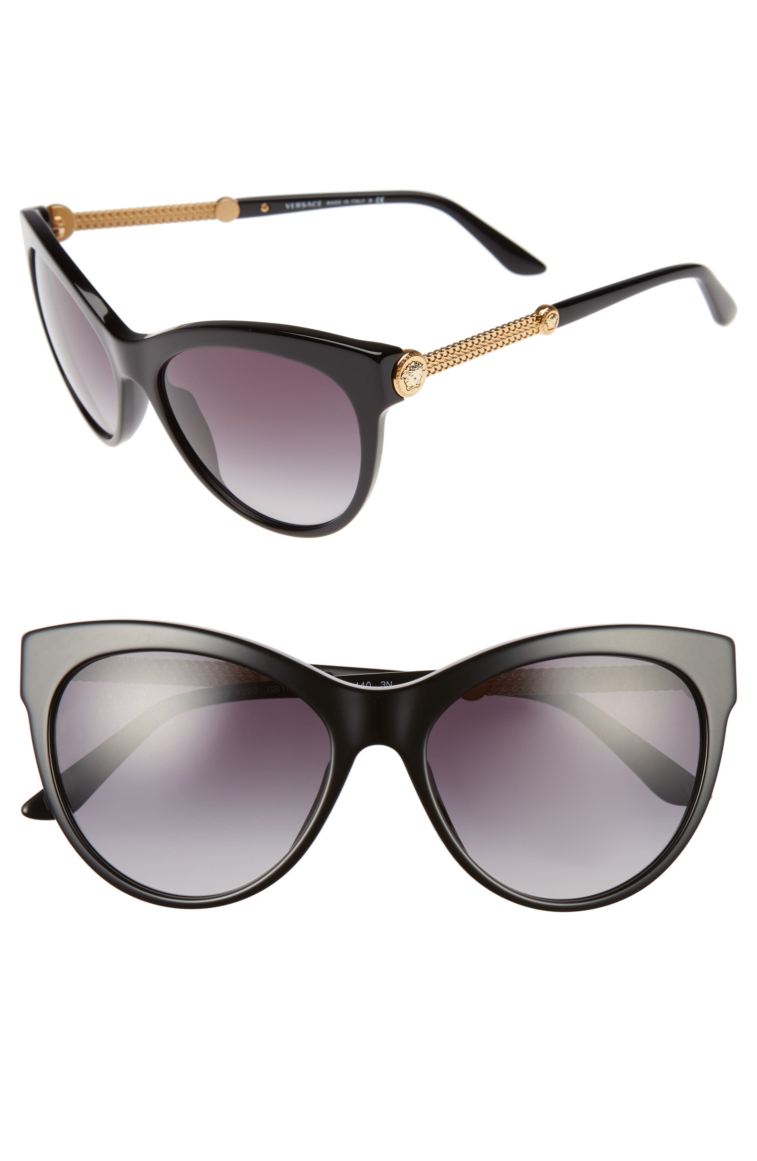 57mm Cat Eye Sunglasses,                             Main thumbnail 1, color,                             001