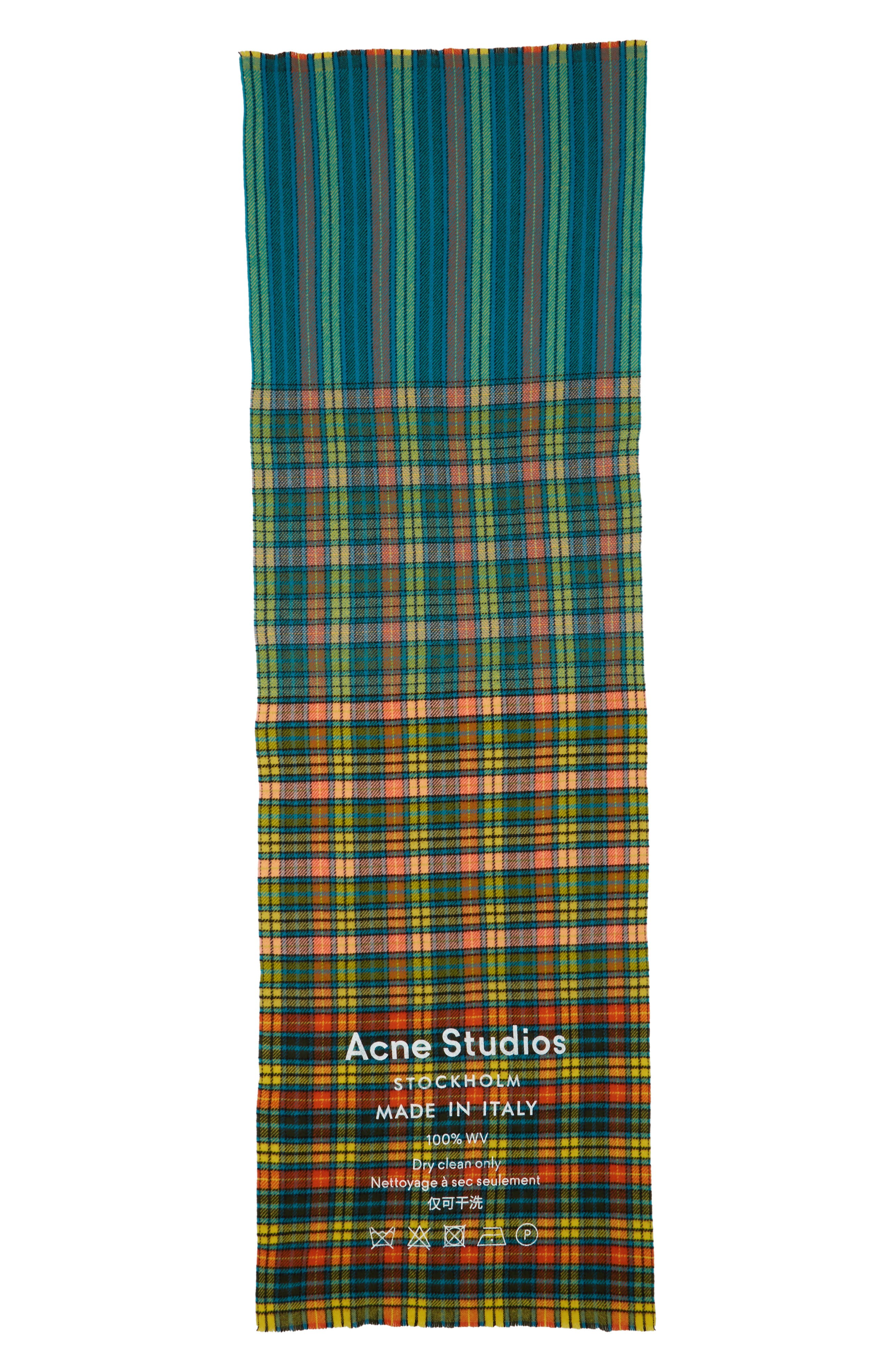 Check Wool Scarf,                             Alternate thumbnail 3, color,                             MID BLUE/YELLOW CHECK