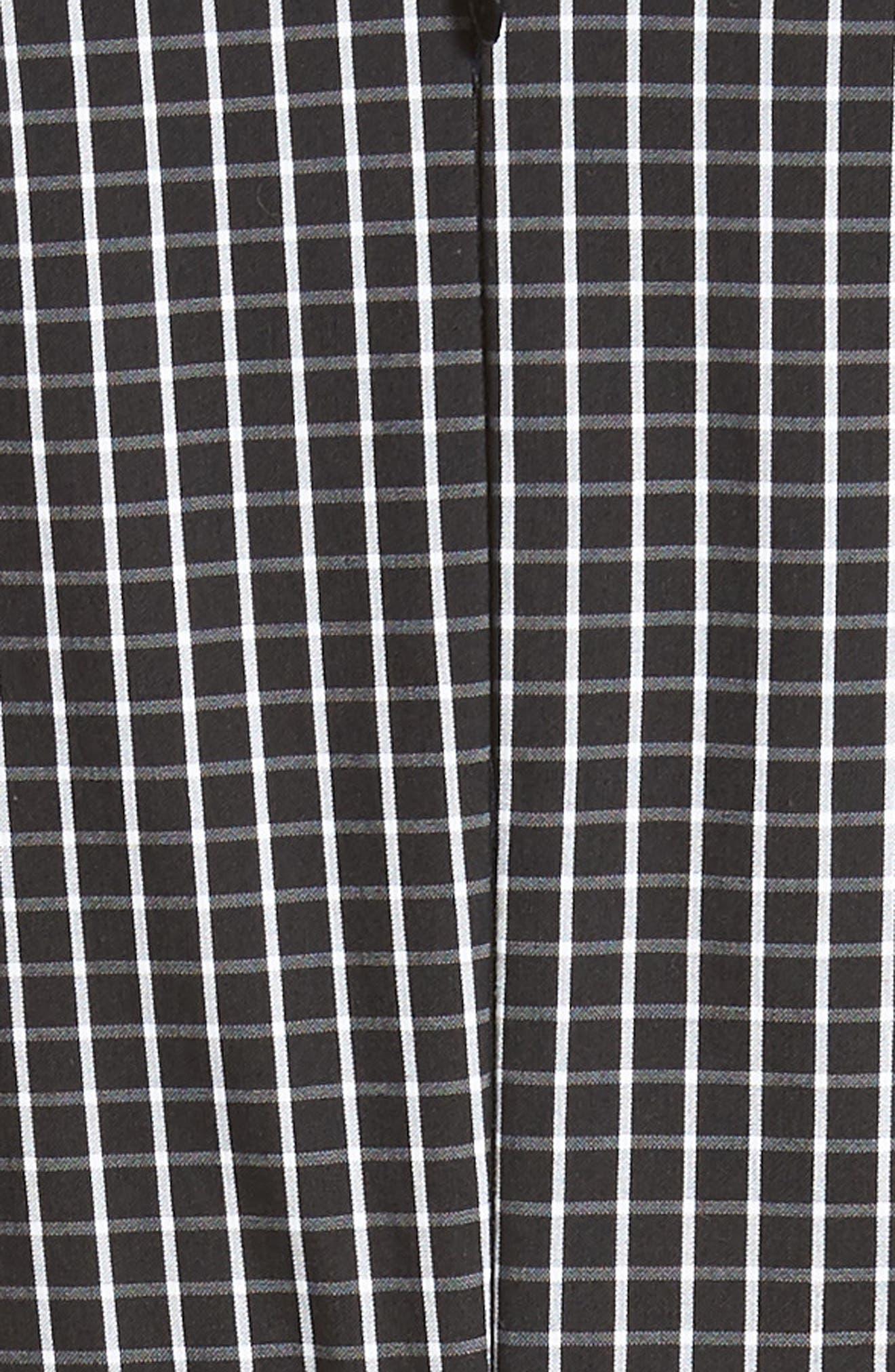 Windowpane Stretch Cotton Poplin Dress,                             Alternate thumbnail 6, color,                             003