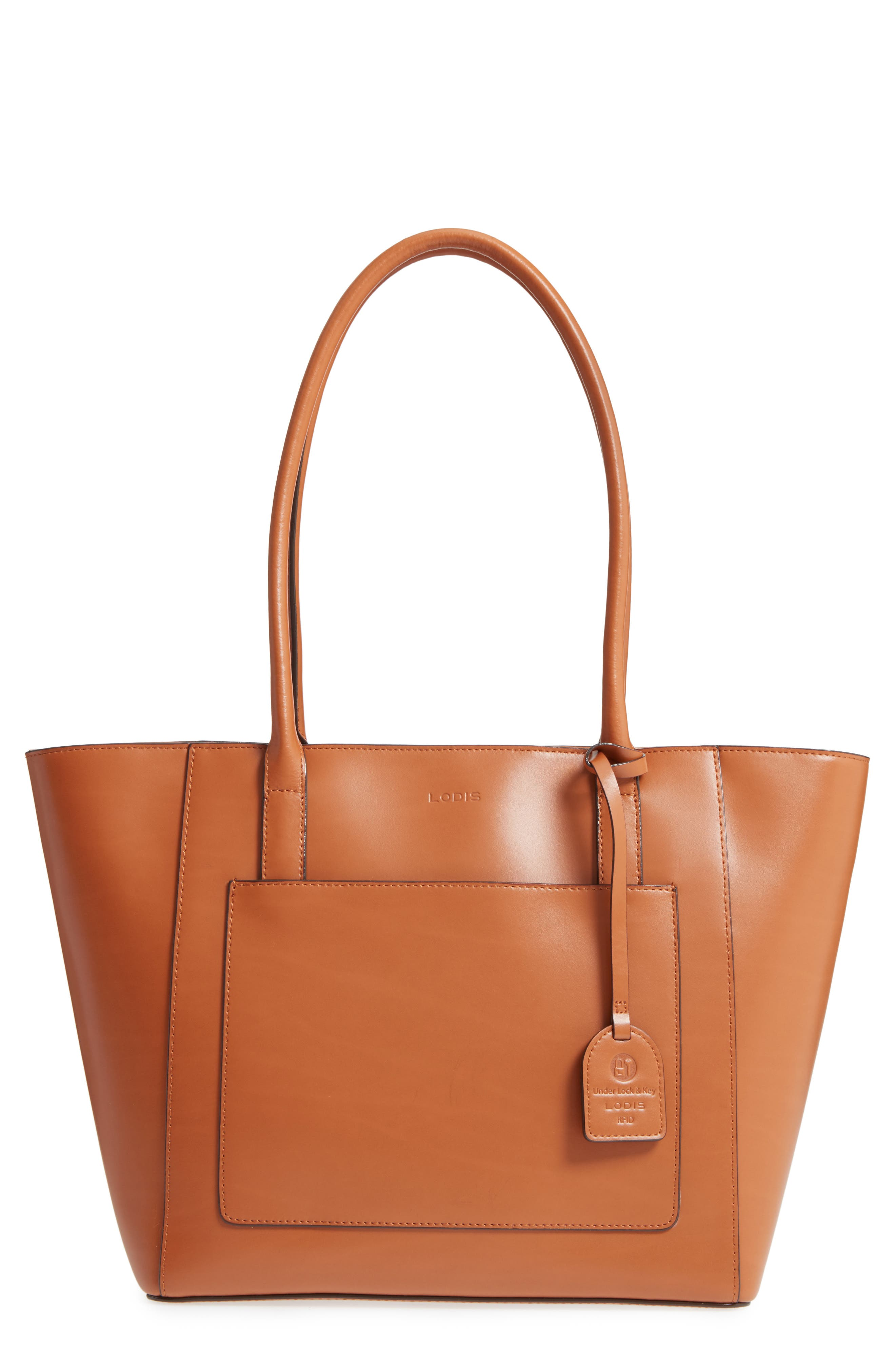 Audrey Under Lock & Key - Medium Margaret RFID Leather Tote with Zip Pouch,                             Main thumbnail 2, color,