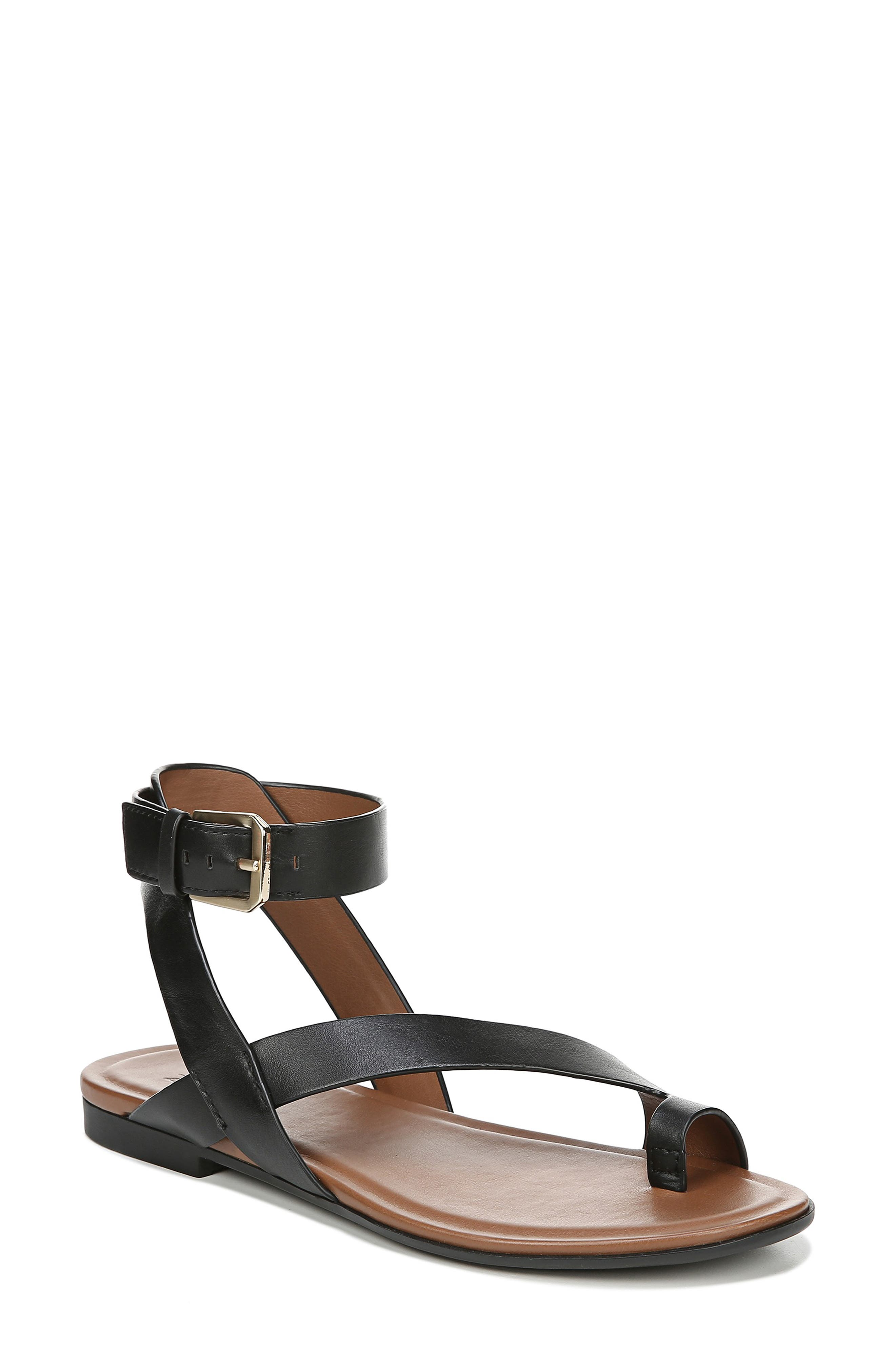 Tally Ankle Strap Sandal,                             Main thumbnail 1, color,                             BLACK LEATHER