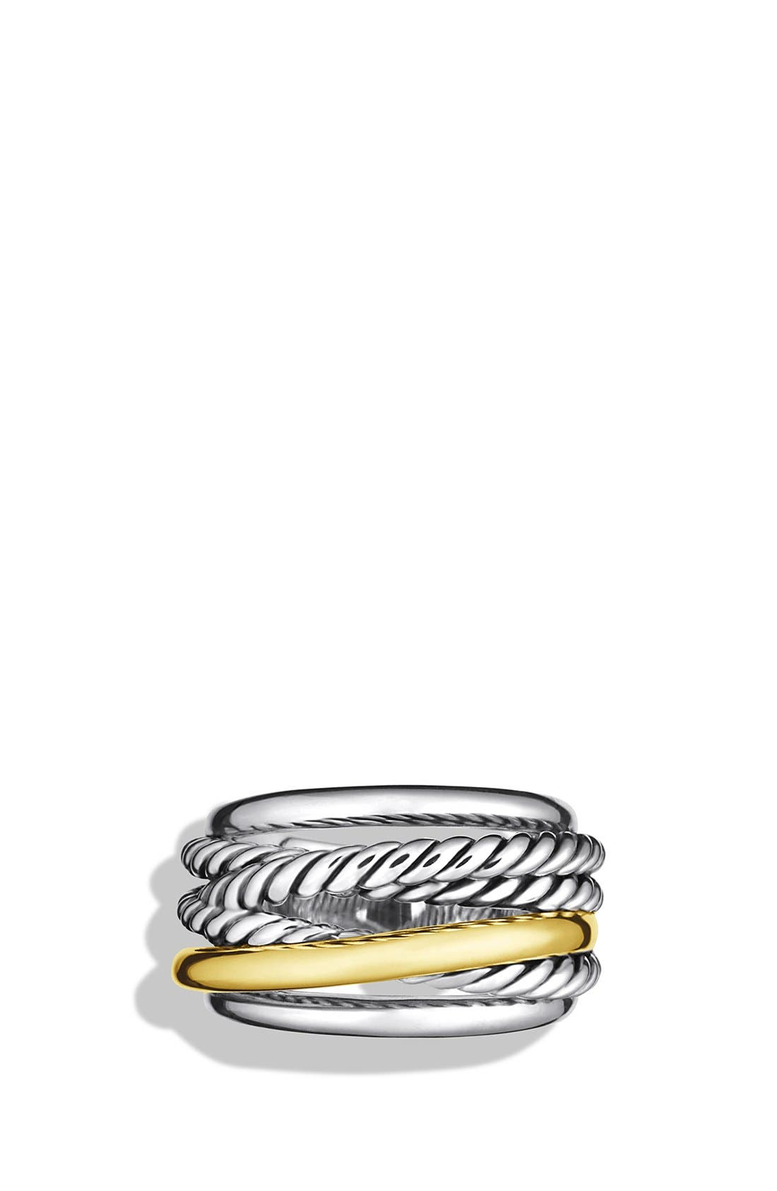 'Crossover' Narrow Ring with Gold,                             Alternate thumbnail 2, color,                             STERLING SILVER/ 14K GOLD