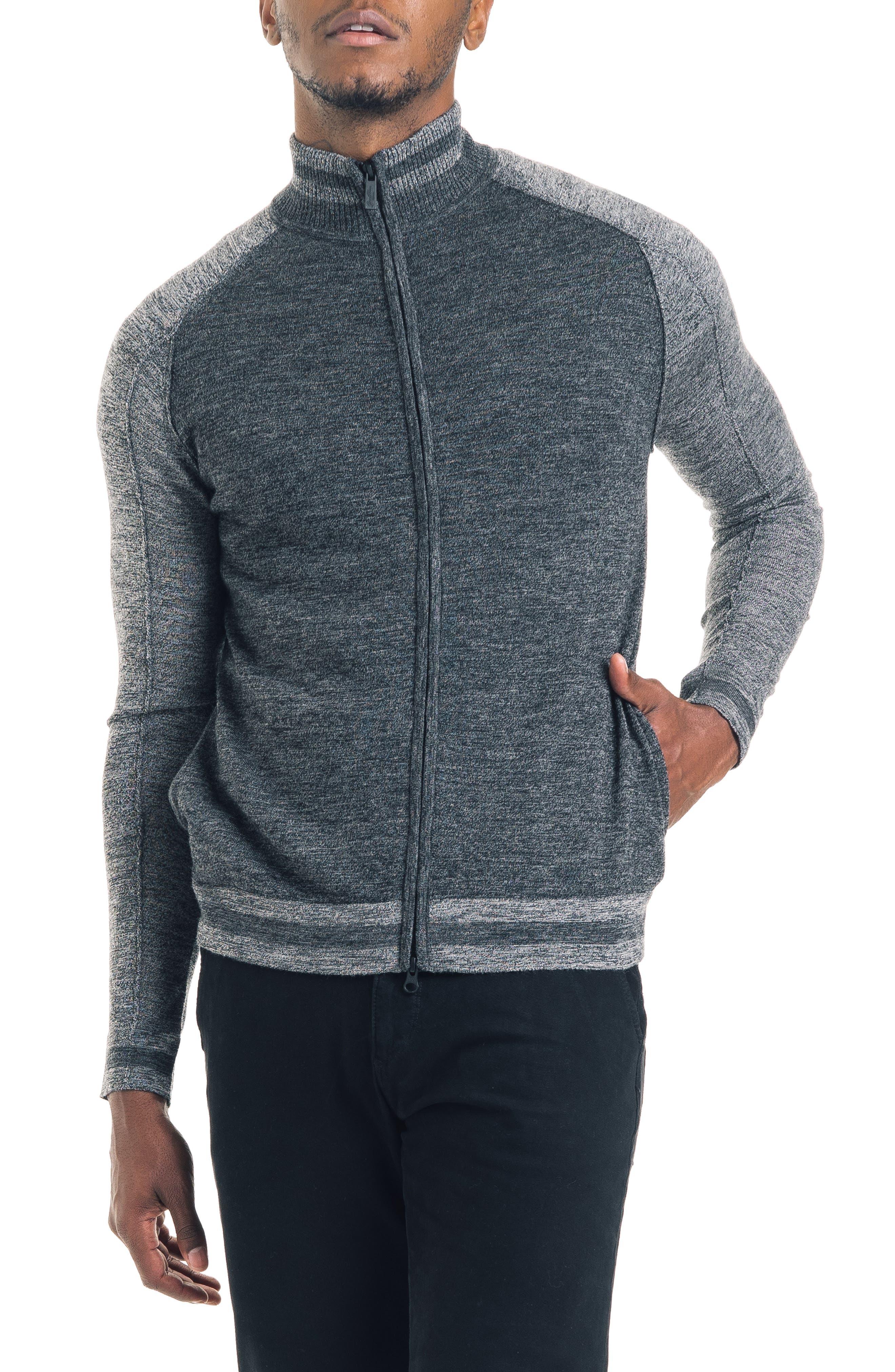 Modern Slim Fit Merino Wool Track Jacket,                             Main thumbnail 1, color,                             BLACK