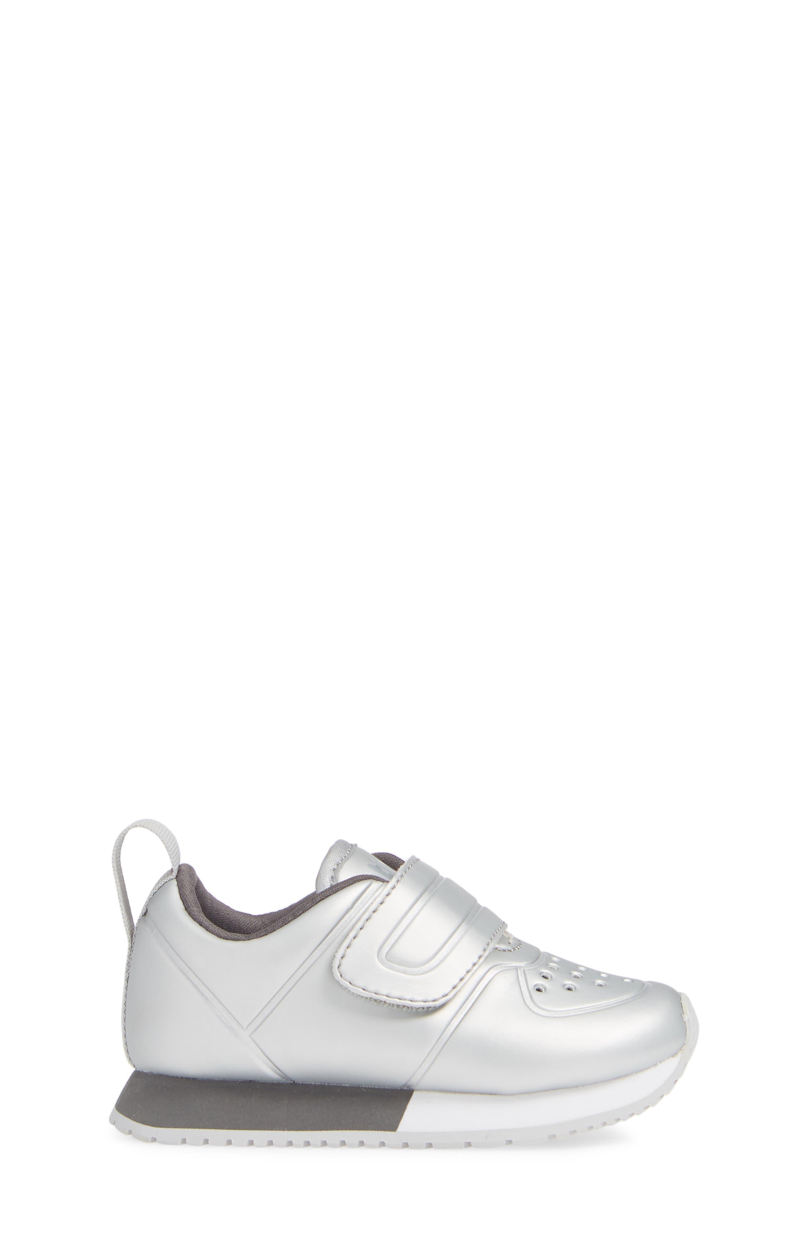 Cornell Perforated Metallic Sneaker,                             Alternate thumbnail 3, color,                             SILVER/ WHITE/ DUBLIN GREY