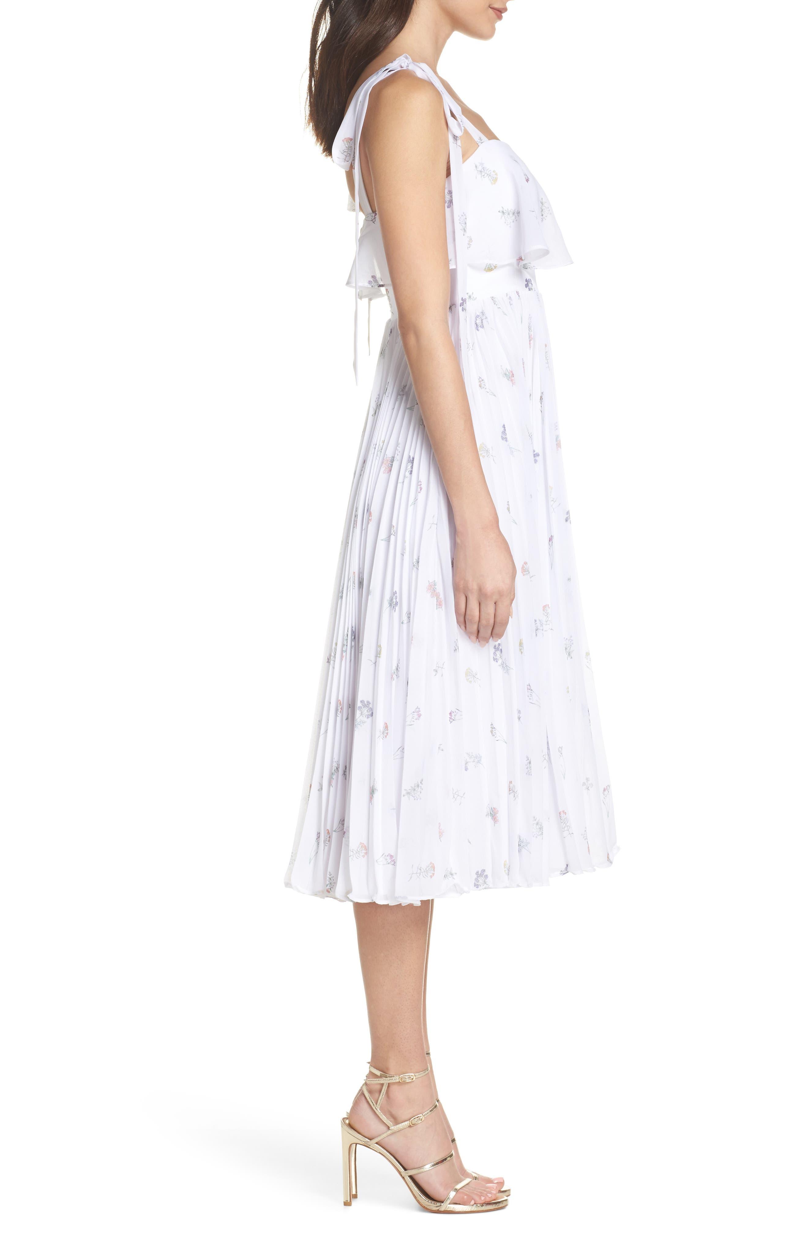Penny Midi Dress,                             Alternate thumbnail 3, color,                             SPRING POSY WHITE