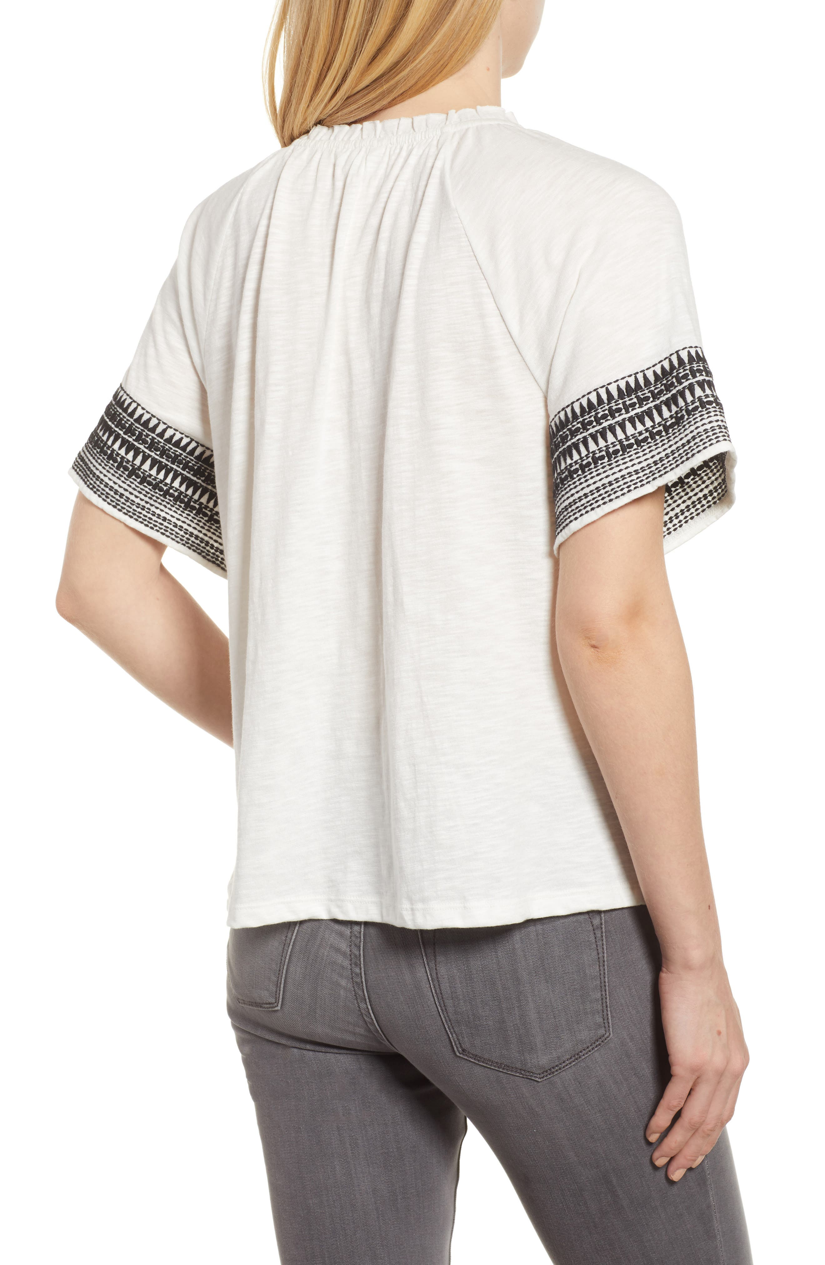 Embroidered Border Peasant Top,                             Alternate thumbnail 6, color,