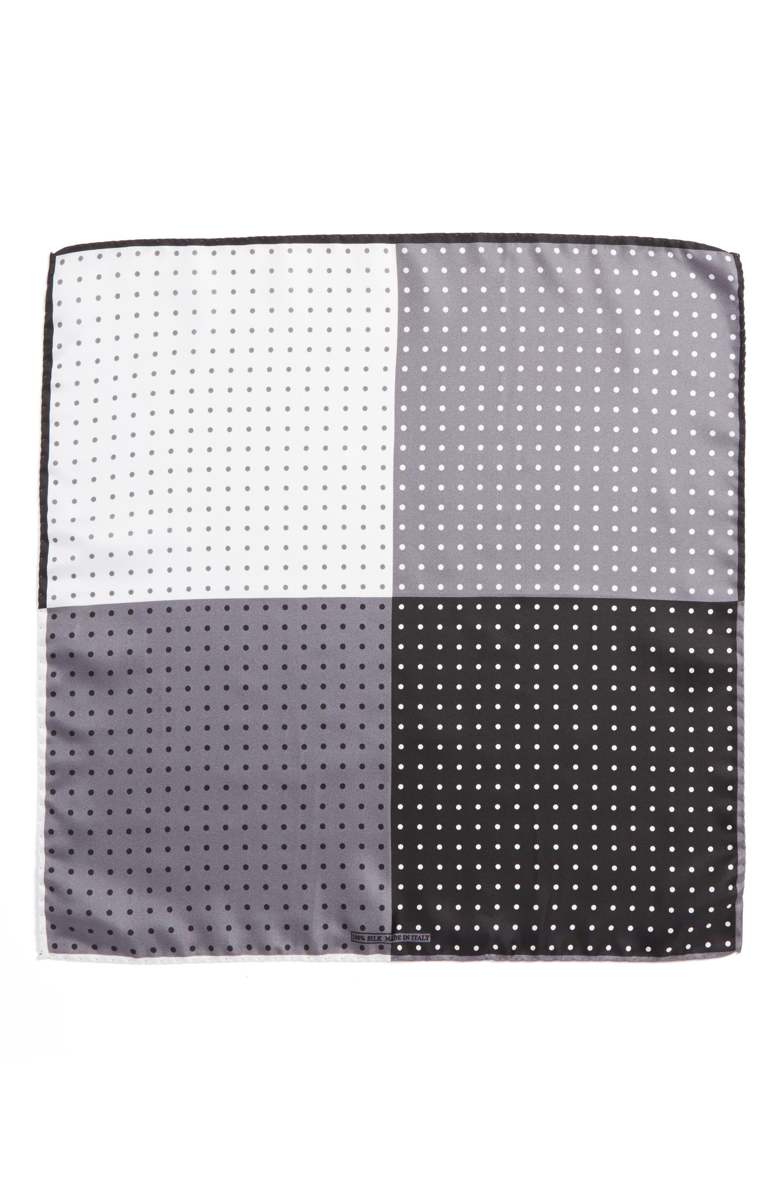 Four Panel Dot Silk Pocket Square,                             Alternate thumbnail 2, color,                             BLACK