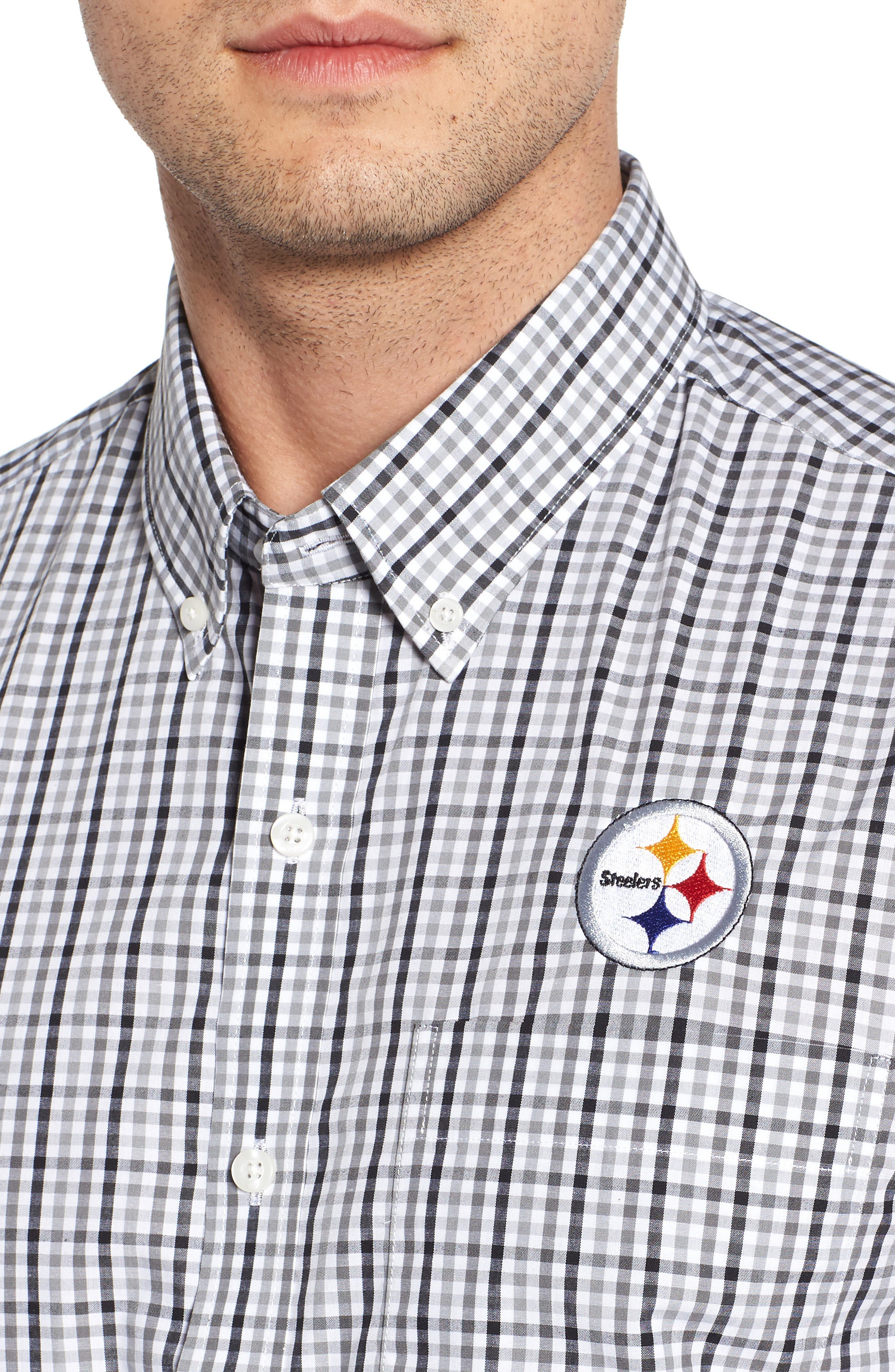 Pittsburgh Steelers - Gilman Regular Fit Plaid Sport Shirt,                             Alternate thumbnail 4, color,                             BLACK