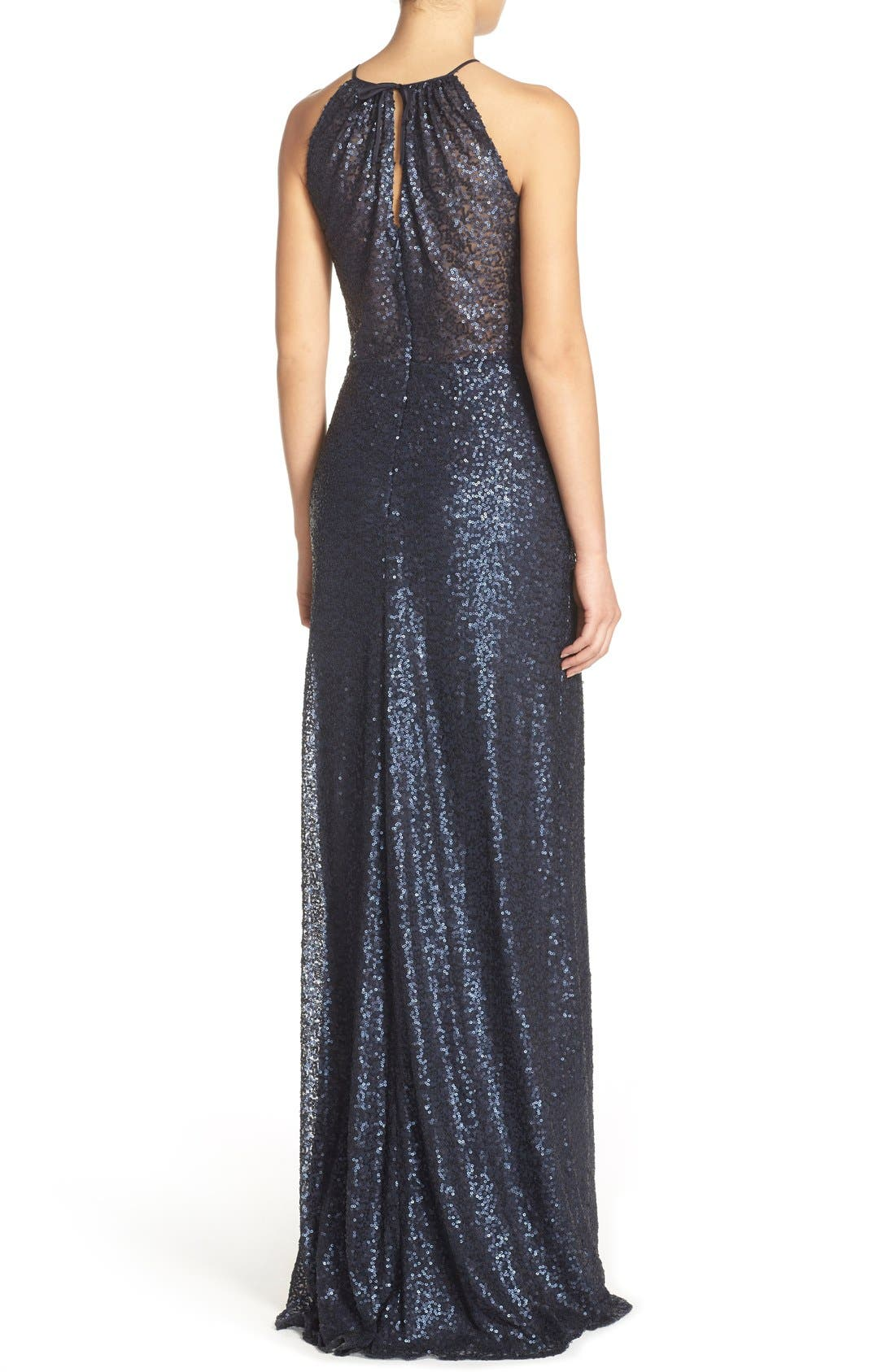 'Chandler' Sequin Tulle Halter Style Gown,                             Alternate thumbnail 9, color,